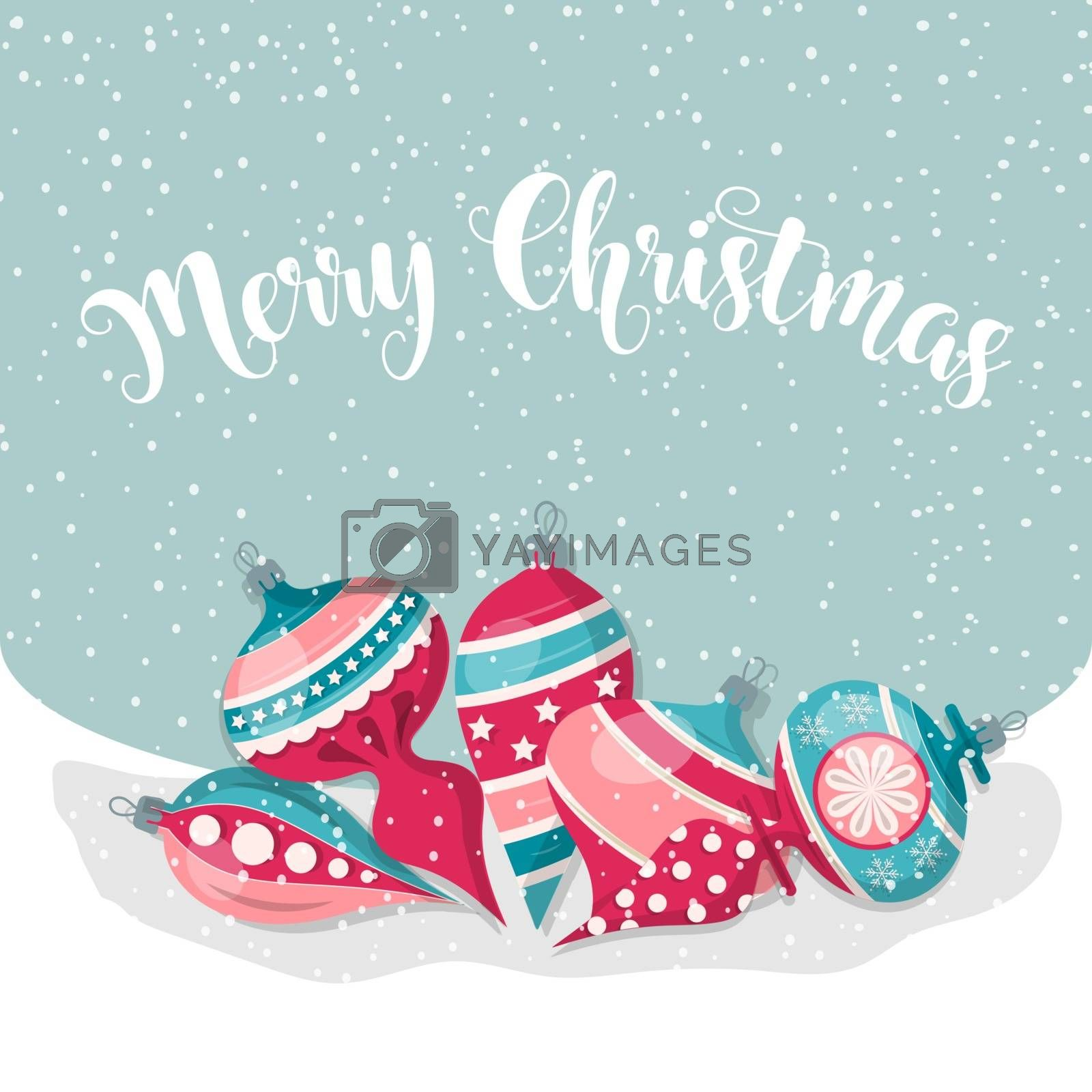 Royalty free image of Christmas card with balls. Christmas background. Flat design. Ve by balasoiu