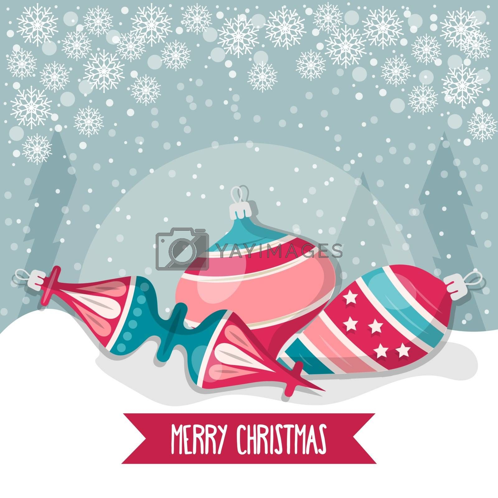 Royalty free image of Christmas card with balls. Christmas background. Flat design. V by balasoiu