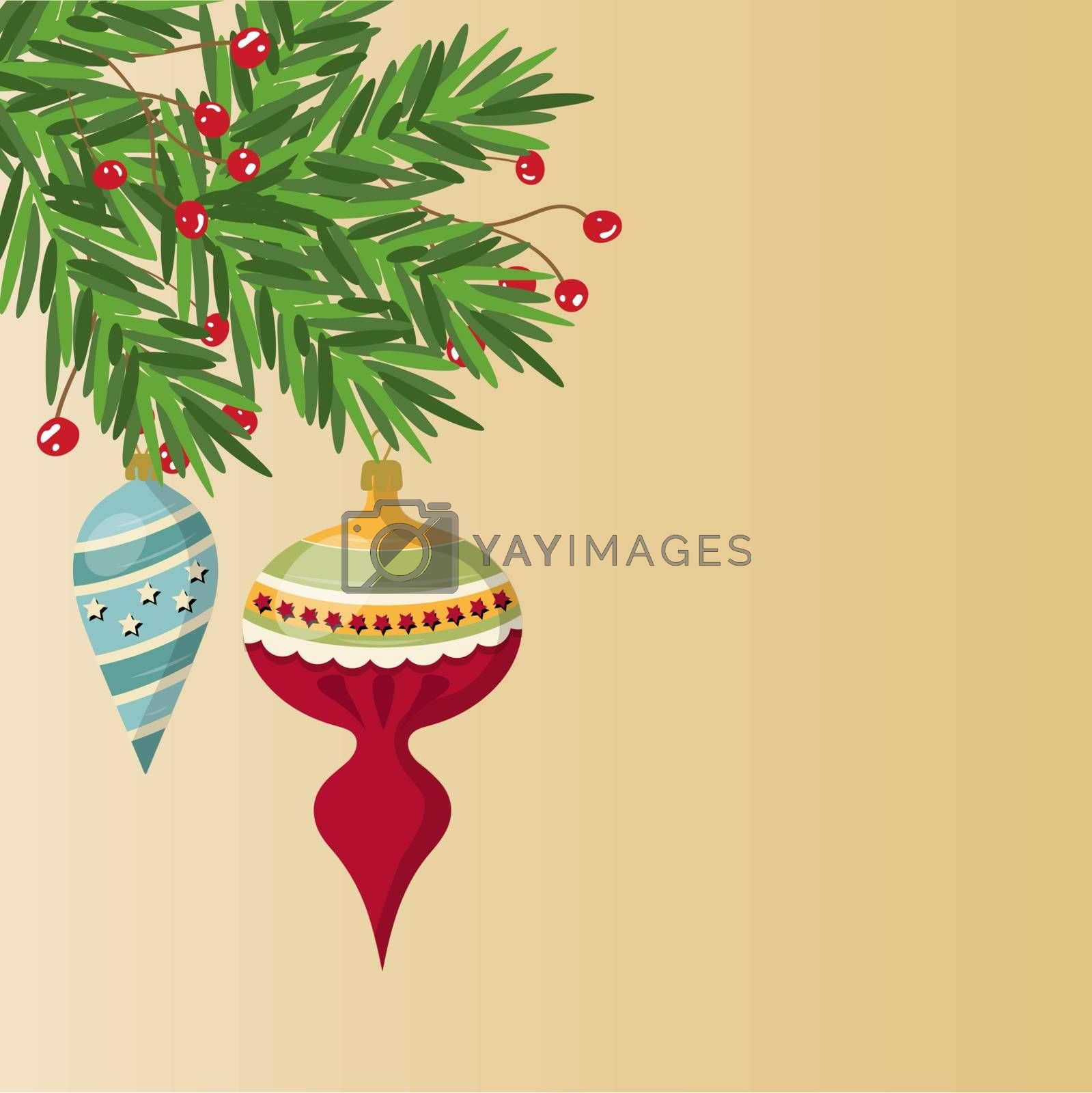 Royalty free image of Delicate customizable Christmas card with balls by balasoiu
