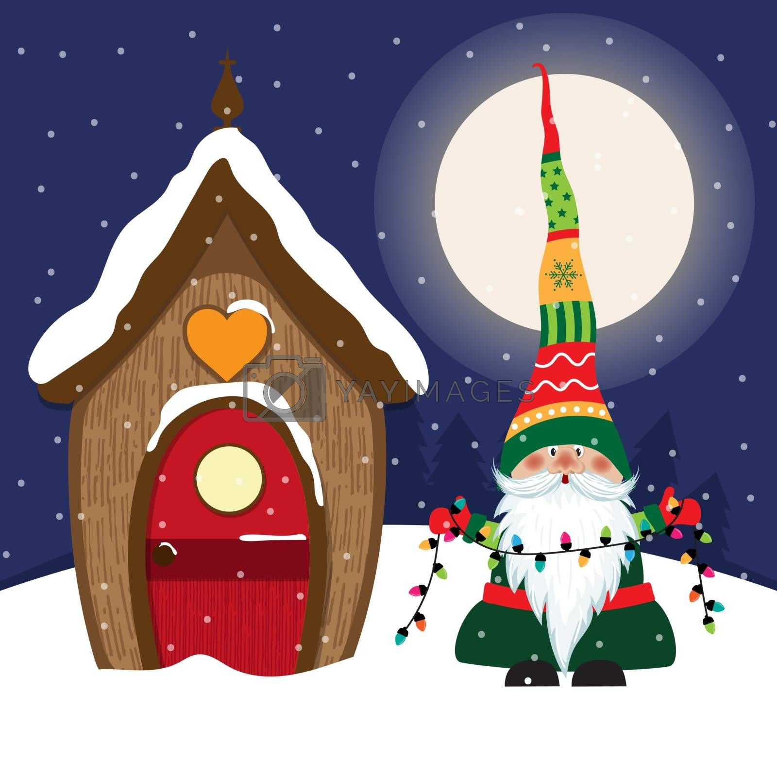 Royalty free image of Beautiful Christmas scene with gnome by balasoiu