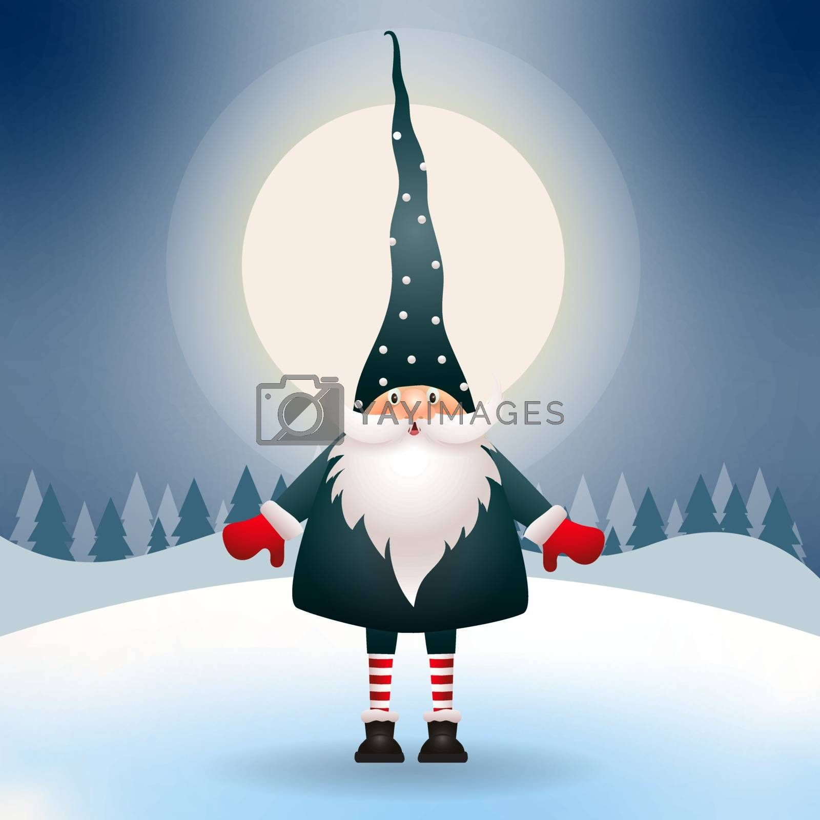Cute gnome in the Christmas night. Christmas scene. Vector