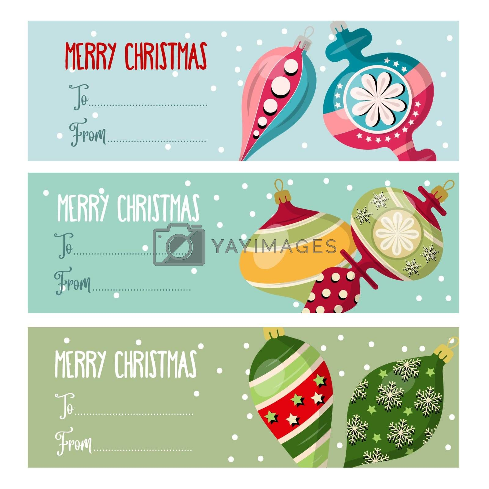 Cute flat design Christmas labels collection  with Christmas balls for presents. Vector