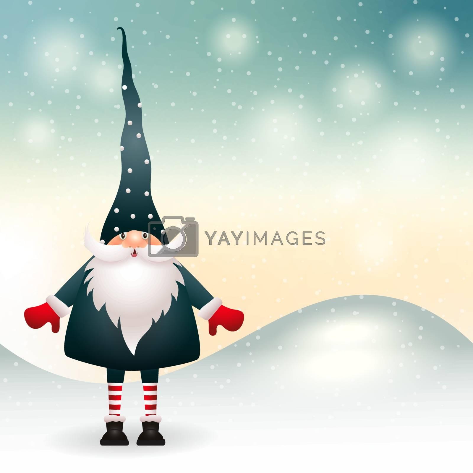 Christmas gnome in winter decor. Vector