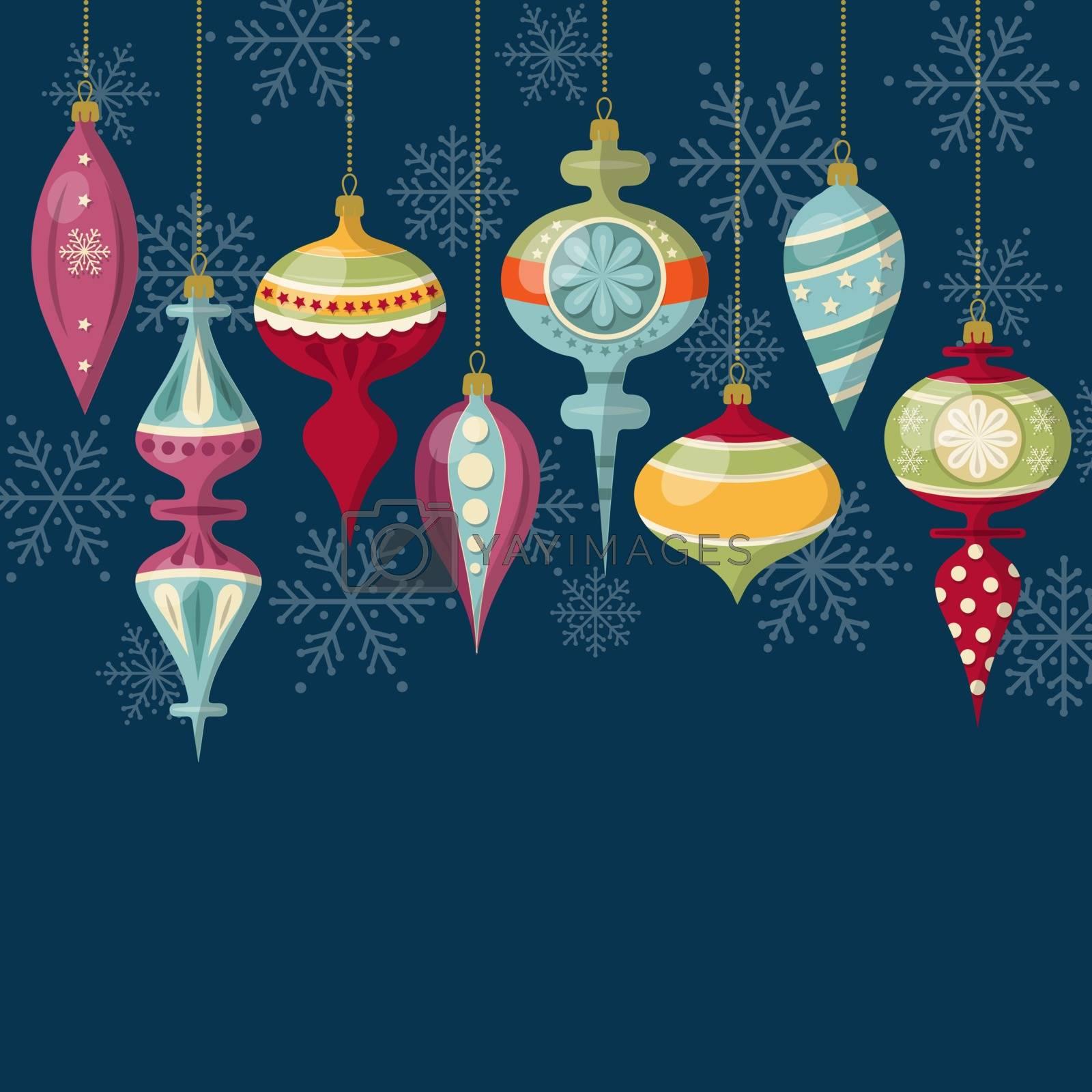 Royalty free image of Flat design Christmas card with Christmas balls by balasoiu