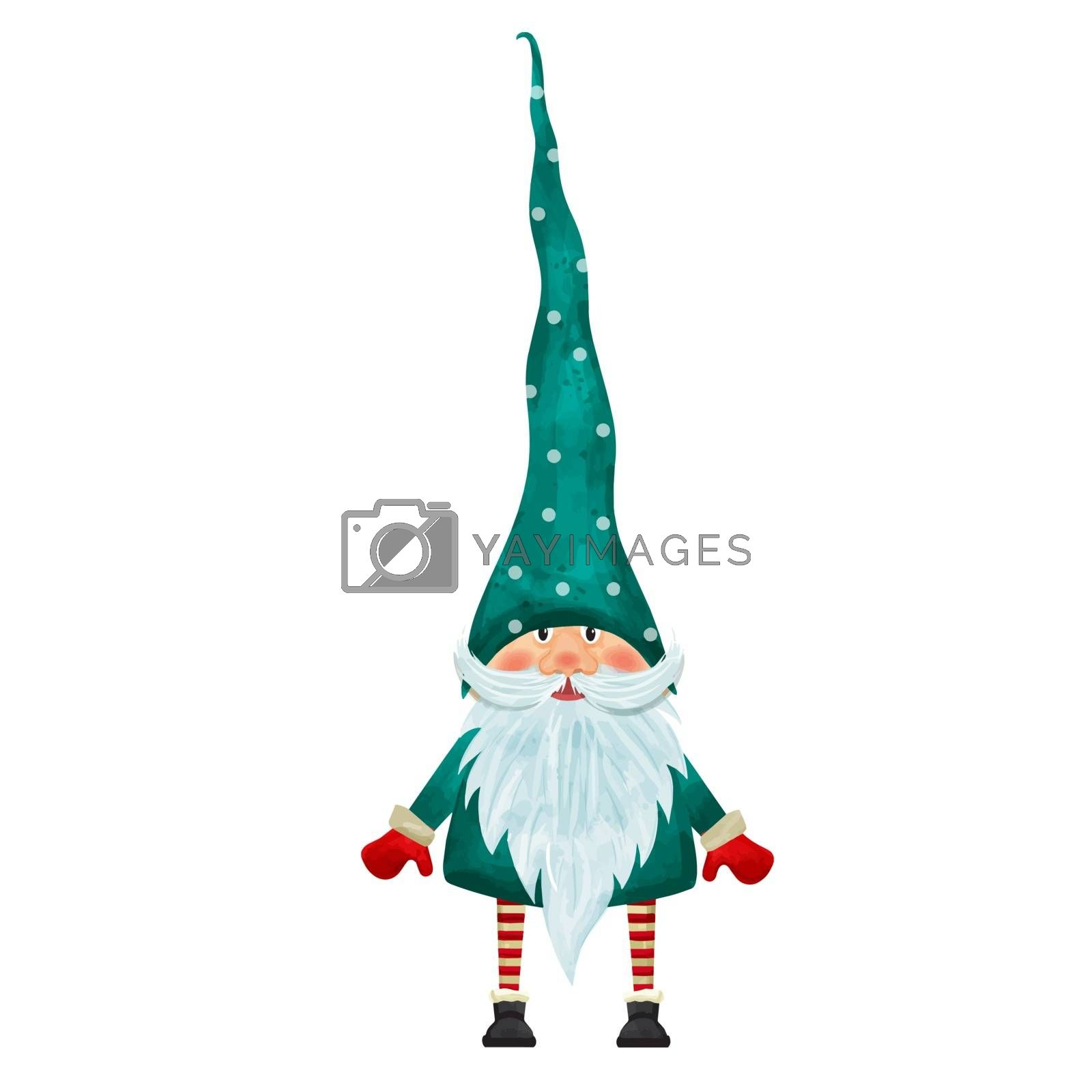Watercolor Christmas gnome isolated on white background. Vector