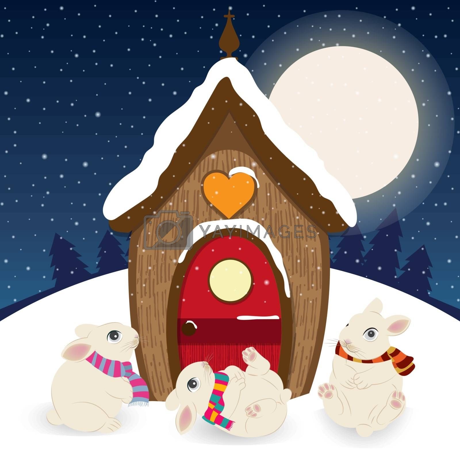 Cute Christmas scene with gnome house and happy bunnies