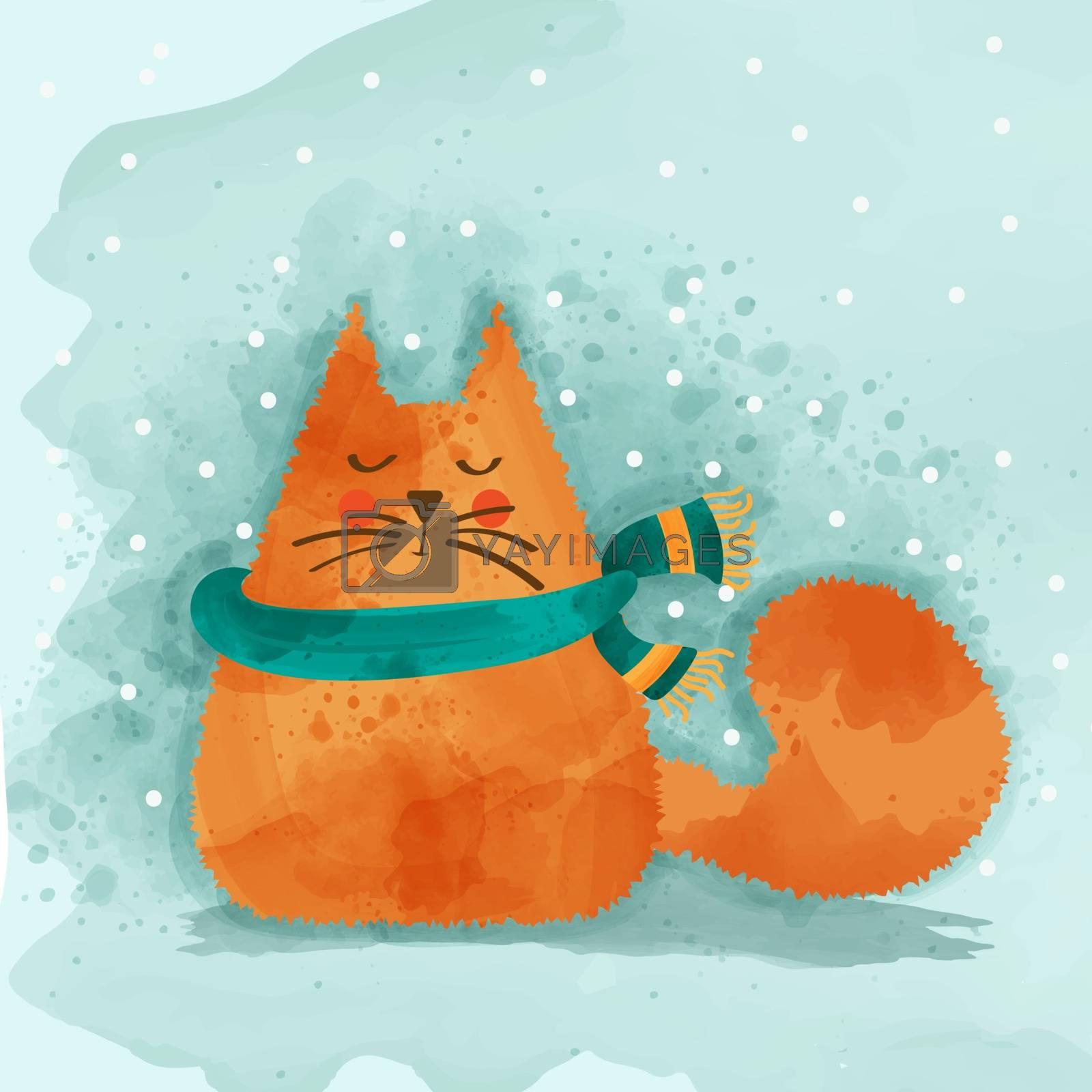 Cute watercolor cat in winter. Christmas card. Vector