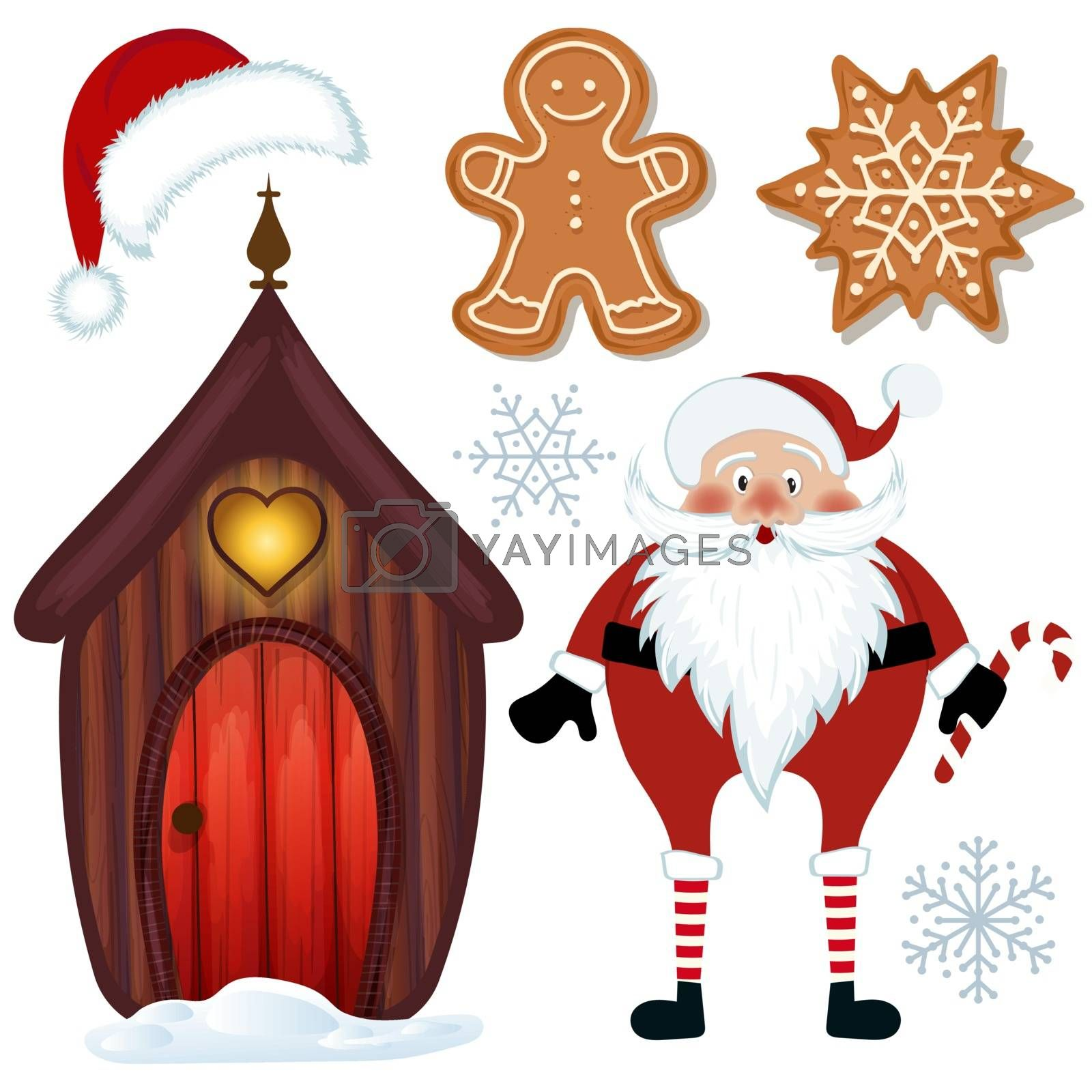 Cute Christmas collection isolated on white