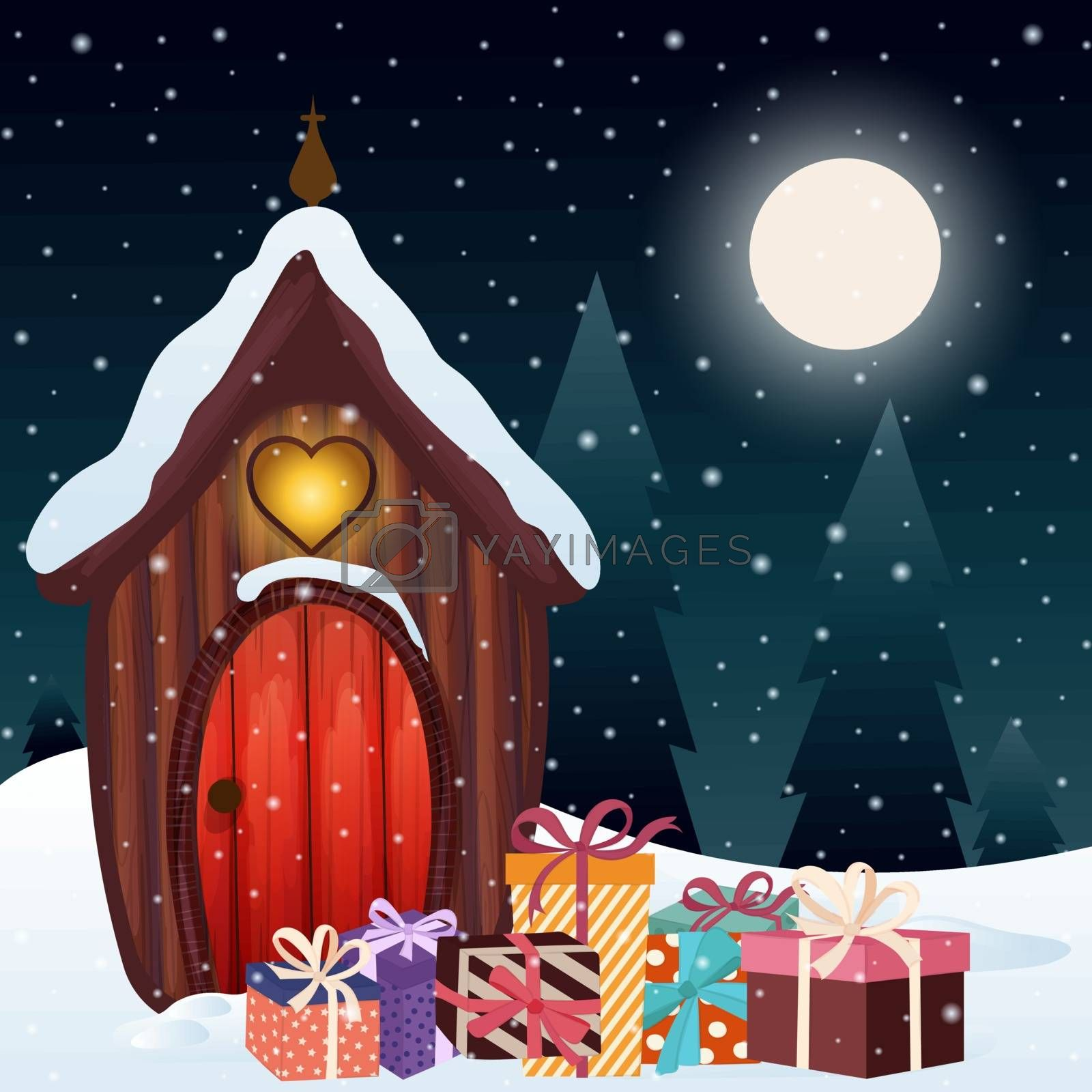 Magical Christmas scene with gnome house and presents