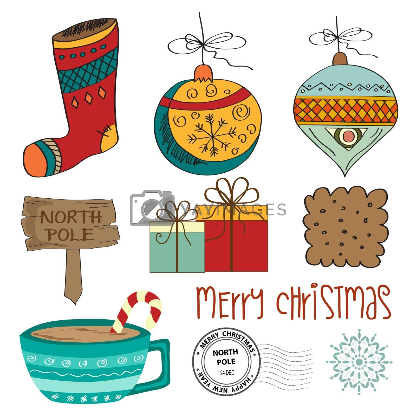Hand draw Christmas items collection isolated on white background. Vector