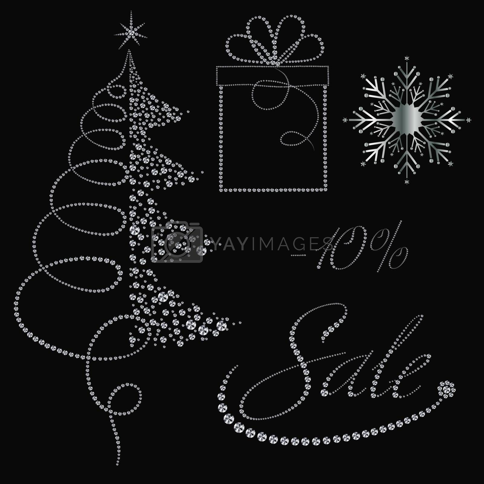 Festive diamonds Christmas items collection for Christmas sale banners