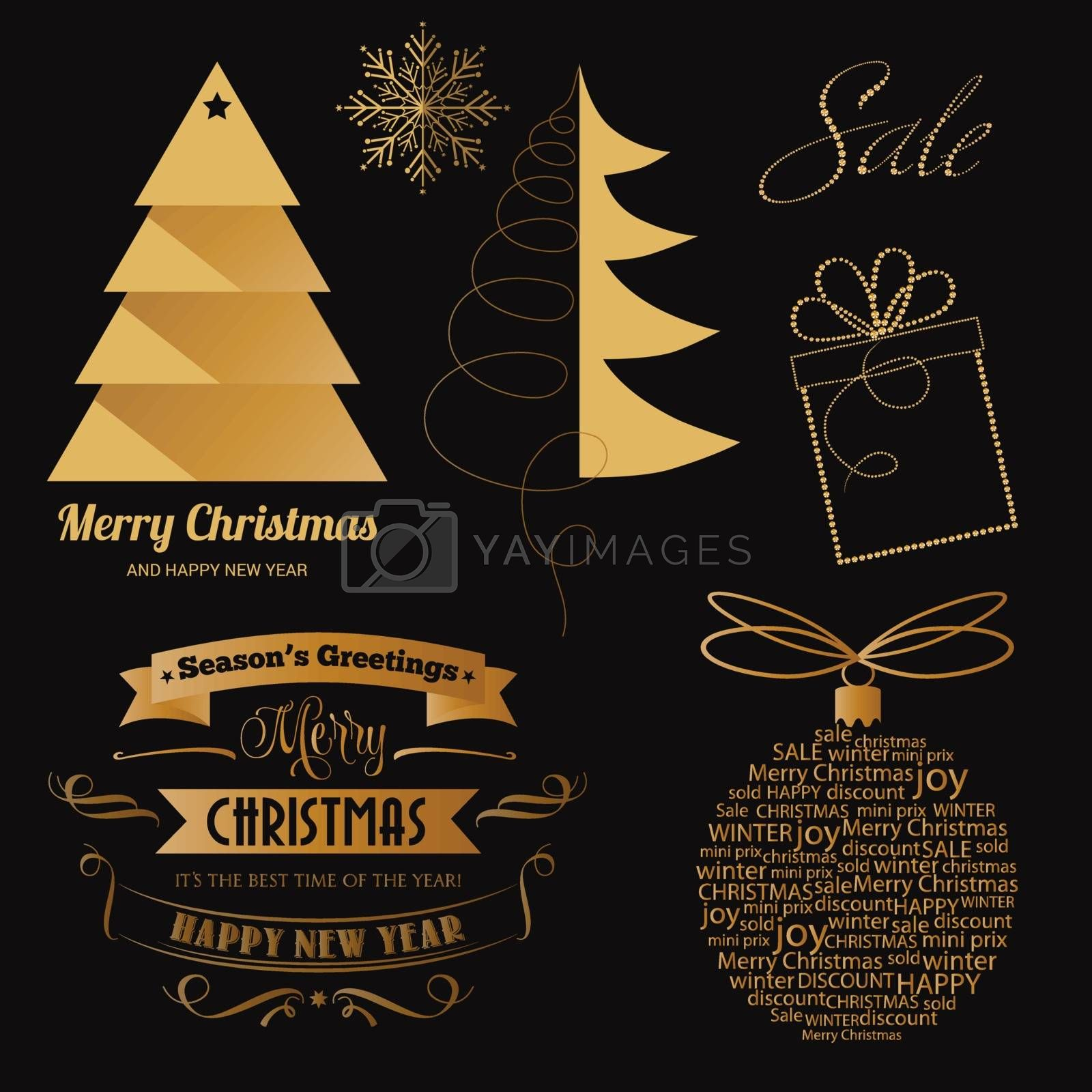 Festive golden Christmas items collection for Christmas sale