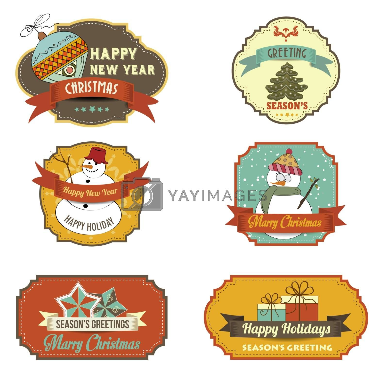 Cute Christmas labels collection isolated on white background