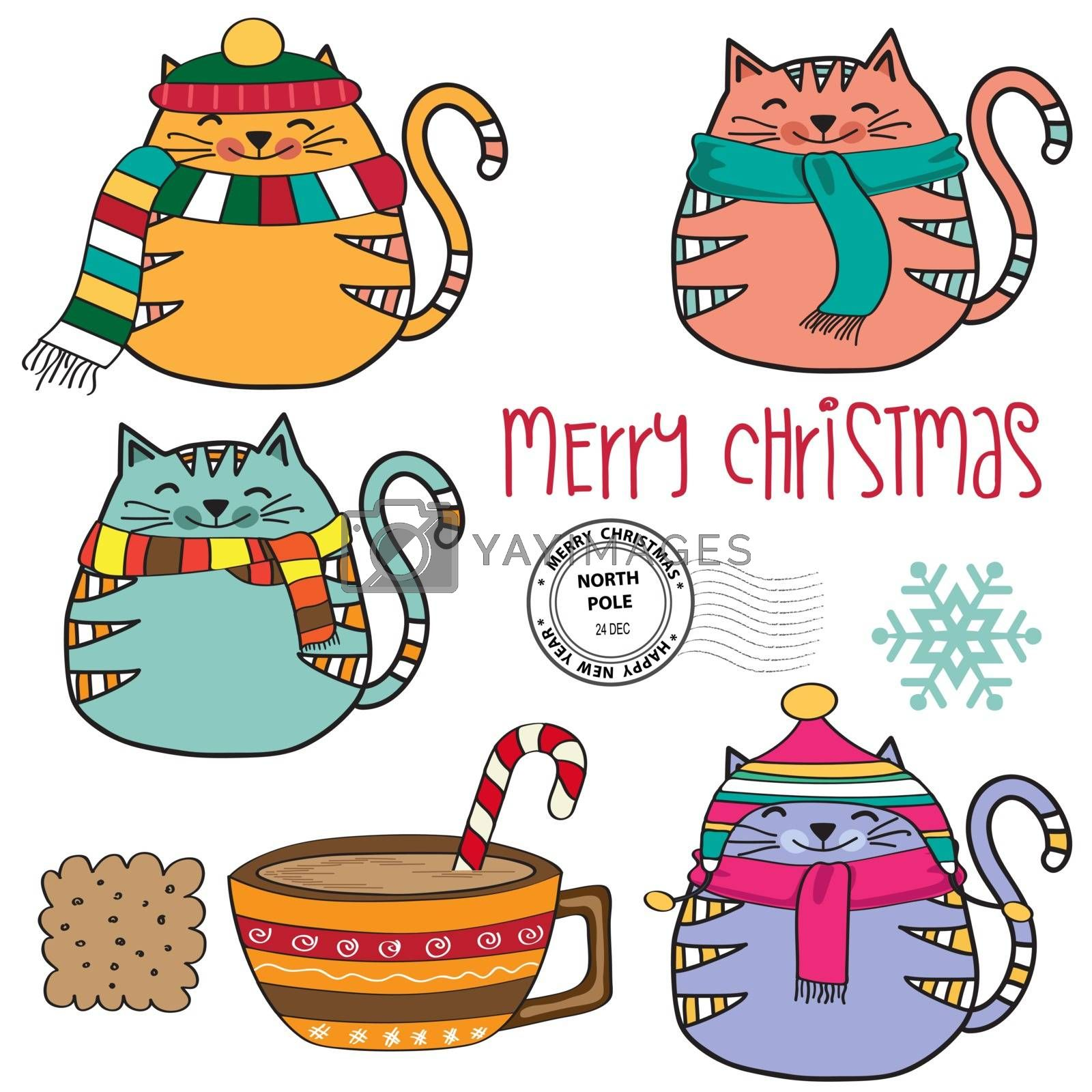 Cute cozy cats collection  and other Christmas elements