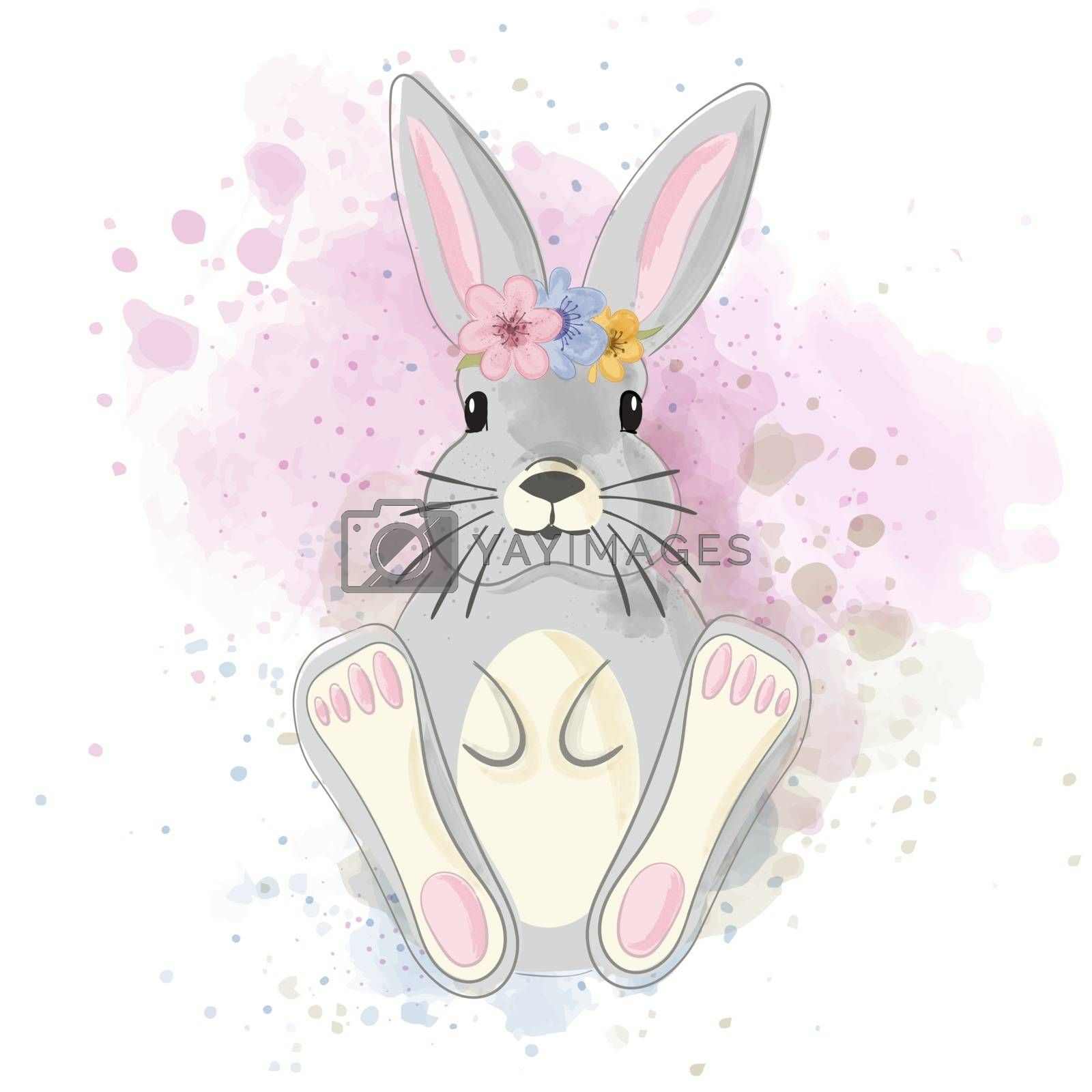 Cute watercolor bunny with crown of flowers on the head
