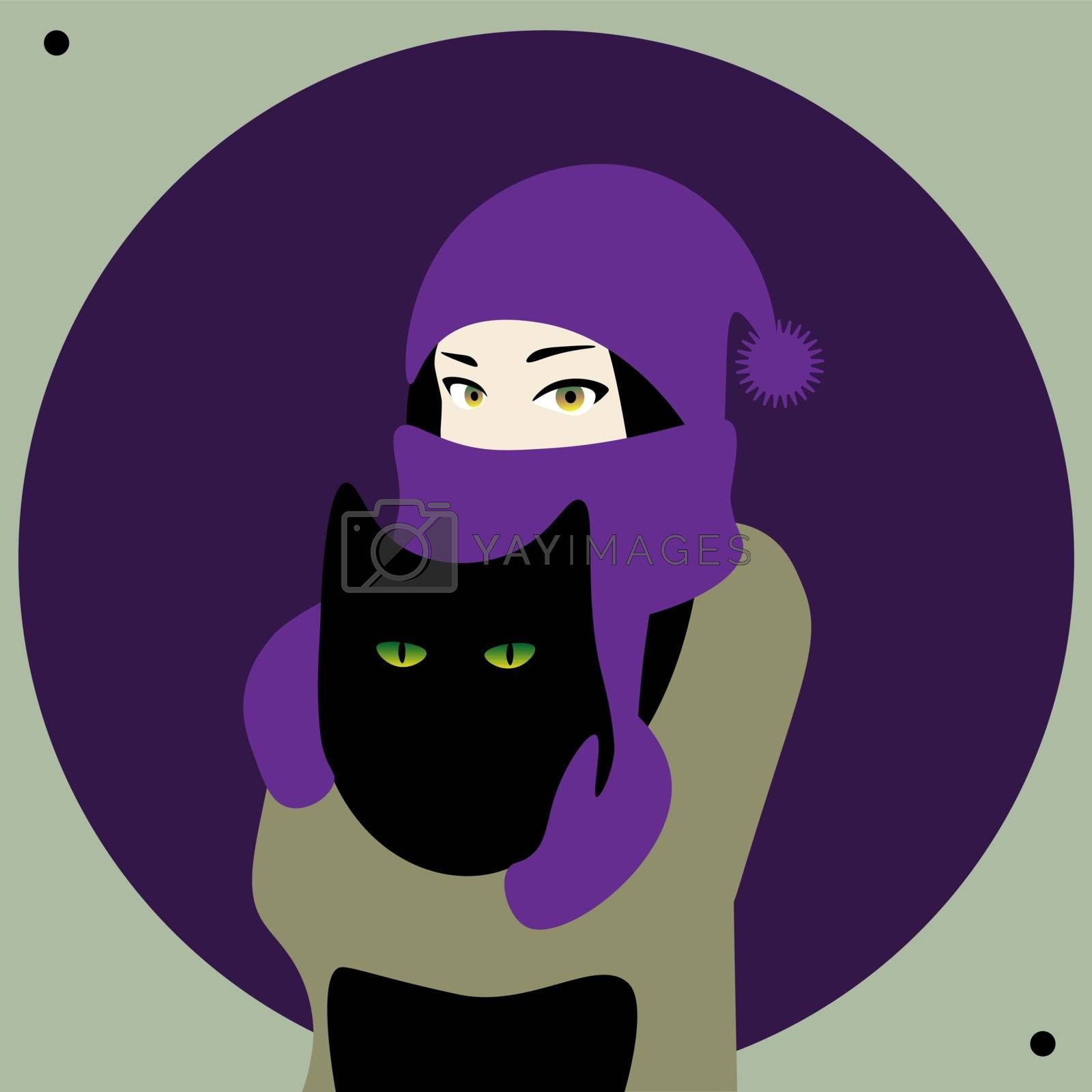 Cold weather, girl in warm clothes hugs a cat on violet background