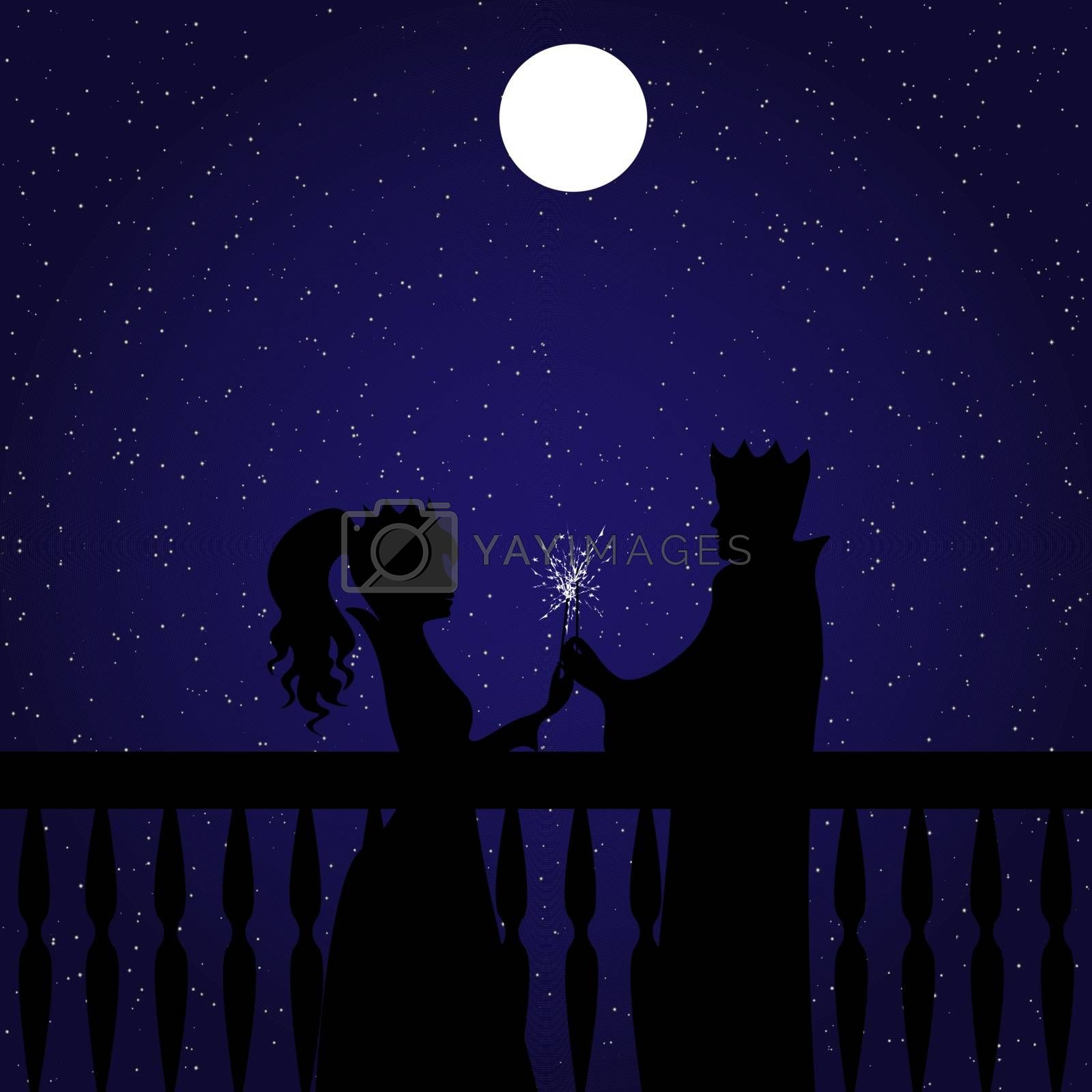 King and queen or prince and princess standing opposite each other and lighting sparklers. Full moon and starry night behind them.