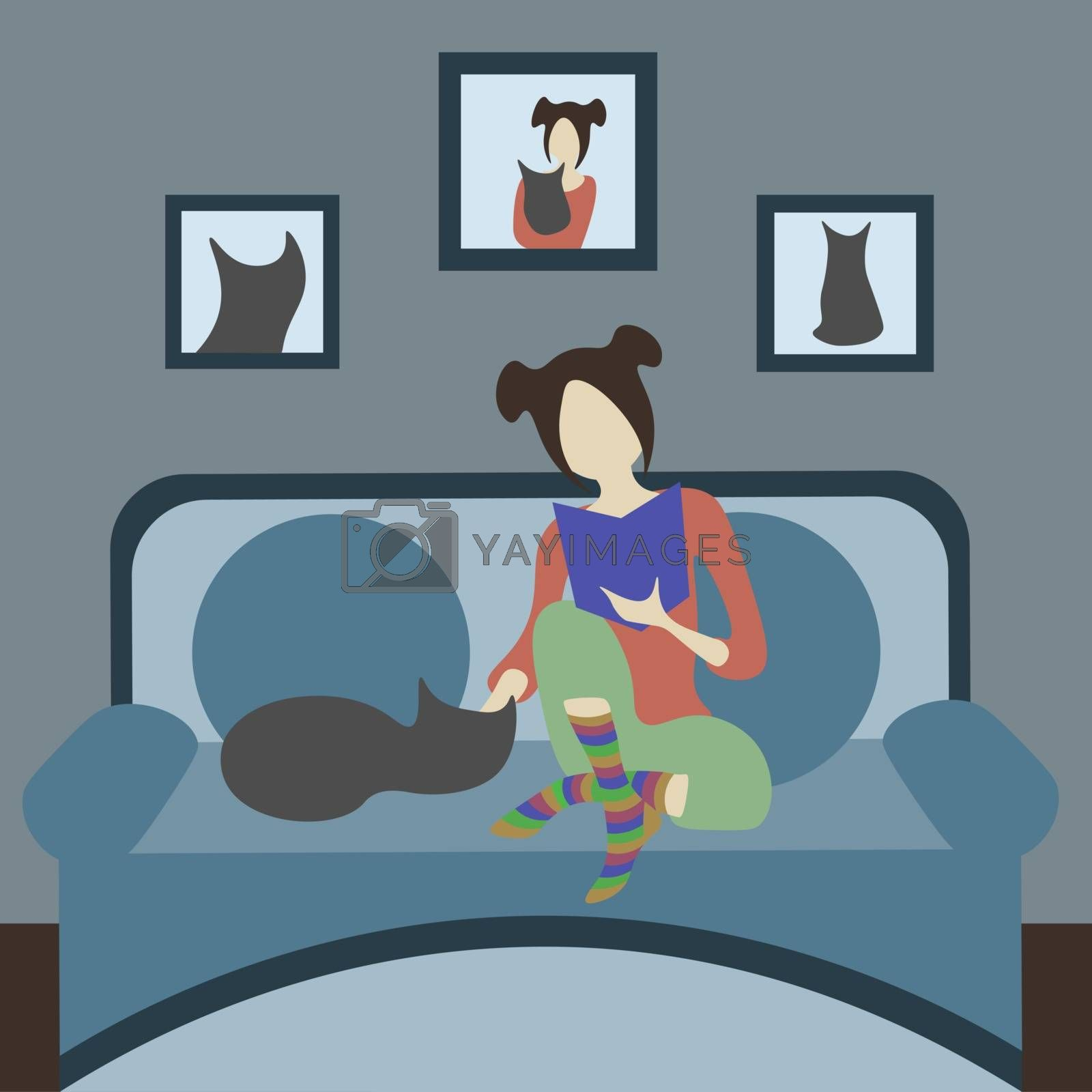 Cat person: girl in pajamas and striped socks petting a cat. Their photos on the wall
