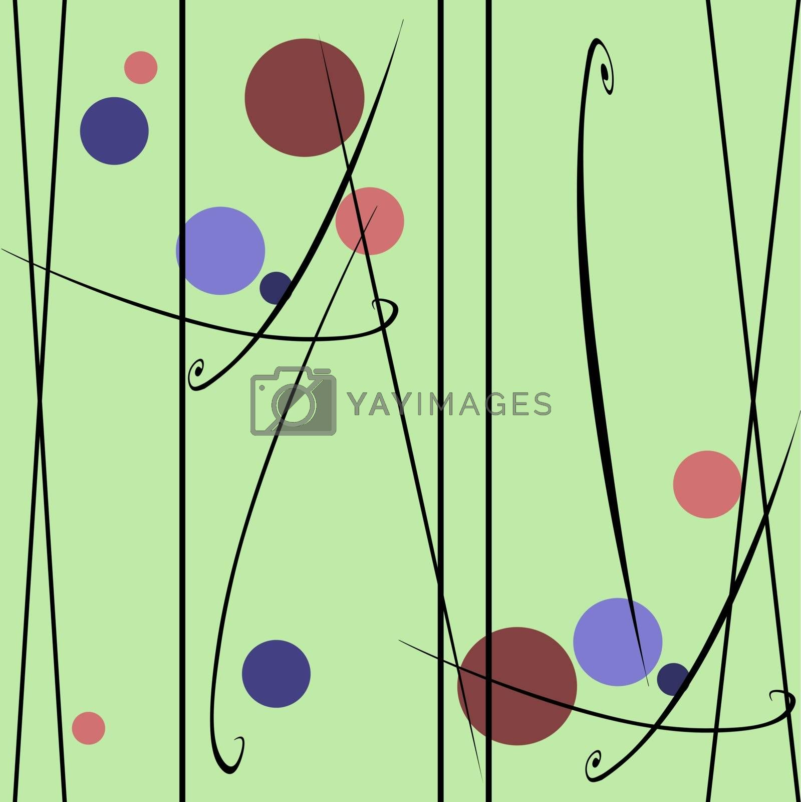 spring seamless green pattern with circles and drawing lines, vector background