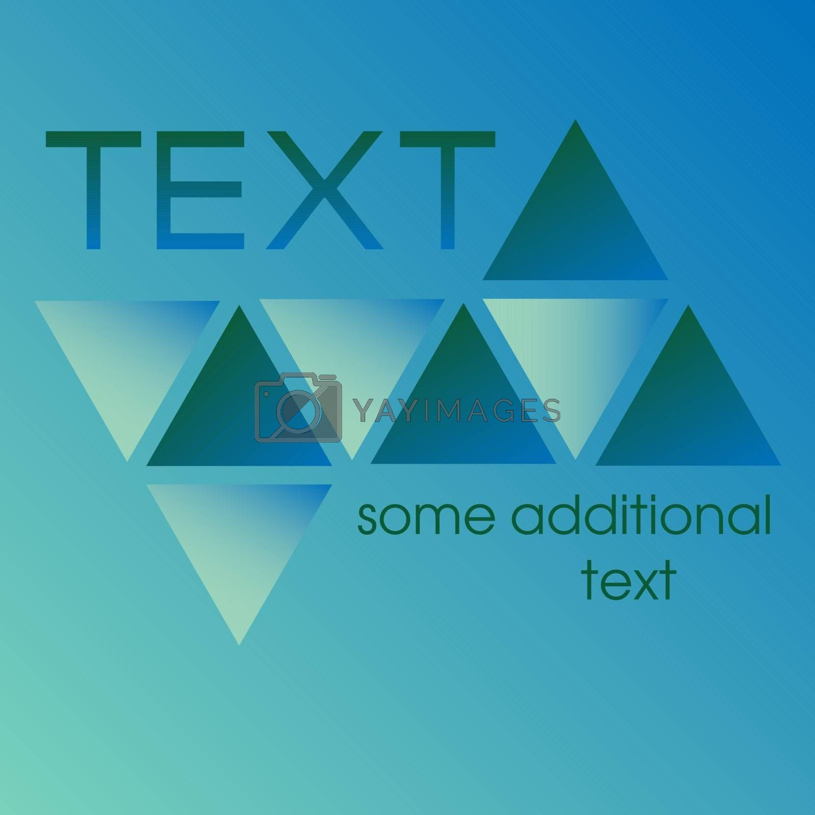 three dark blue and three light blue gradient triangles, place for a text