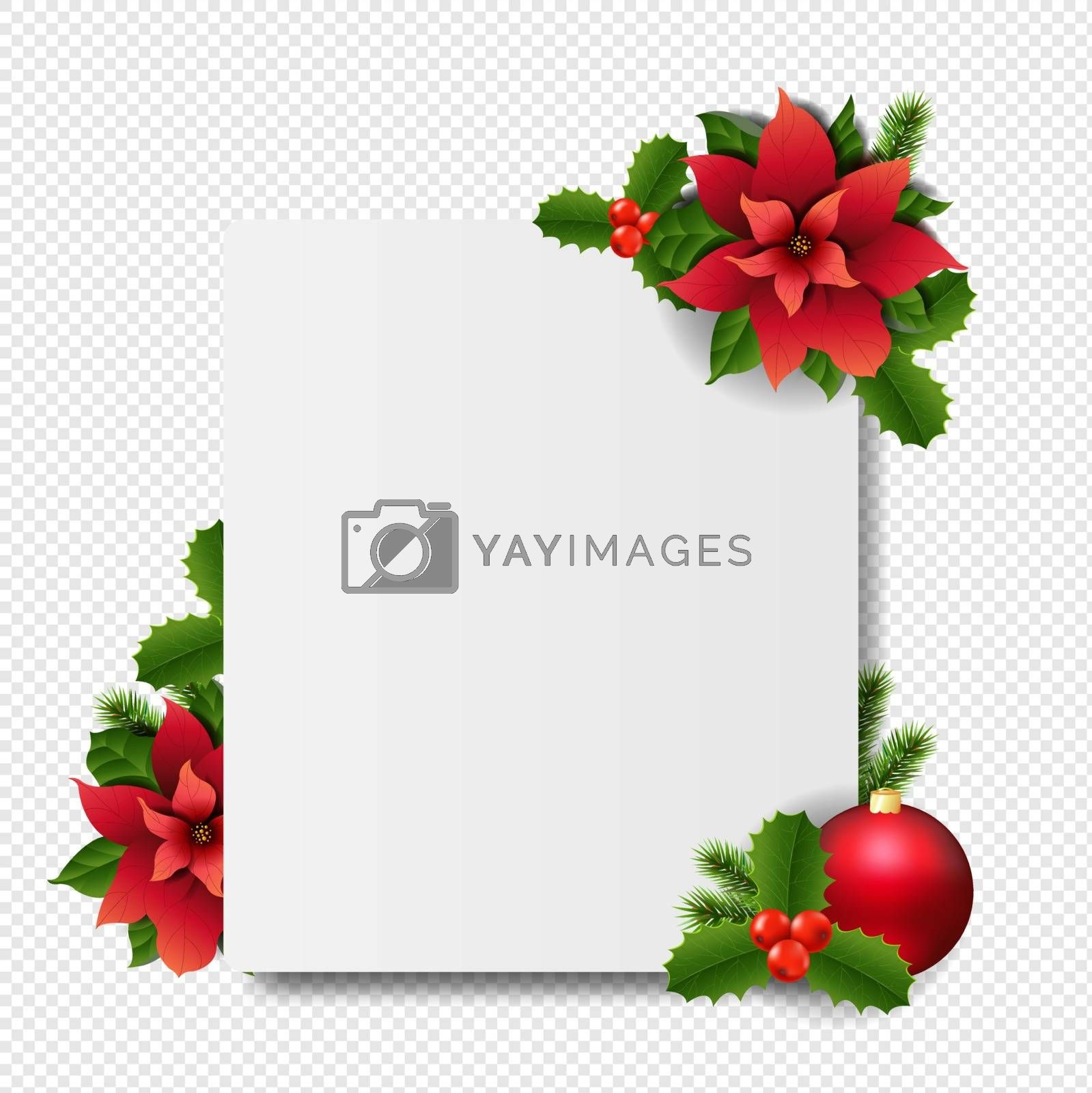 Banner With Red Christmas Poinsettia transparent Background With Gradient Mesh, Vector Illustration
