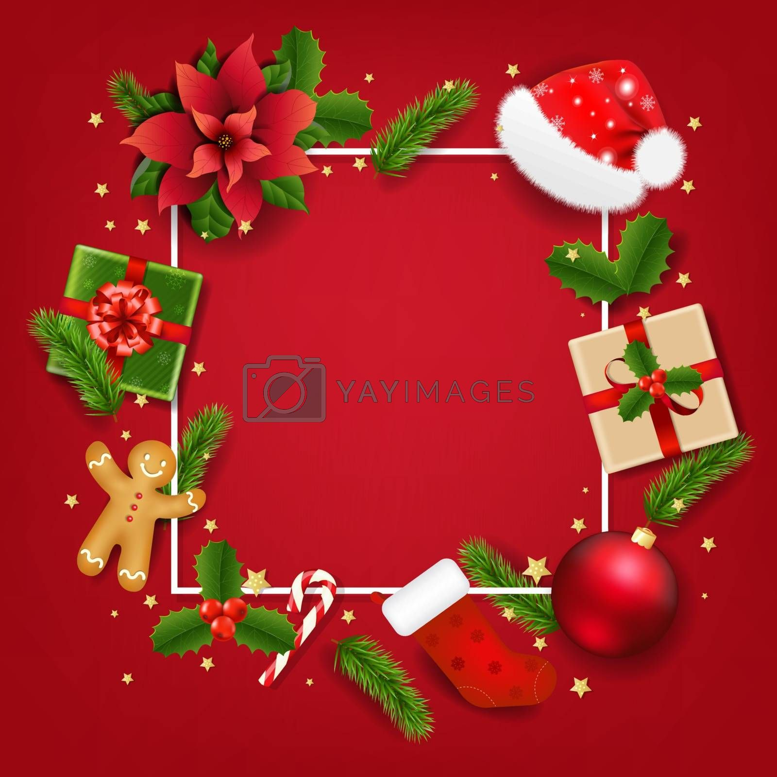 Christmas Banner With Red Poinsettia With Gradient Mesh, Vector Illustration