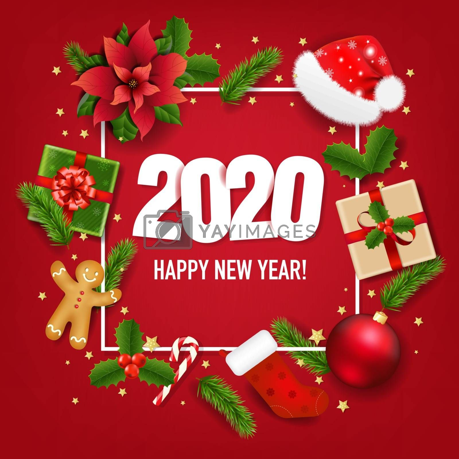 Happy New Year Banner With Poinsettia With Gradient Mesh, Vector Illustration