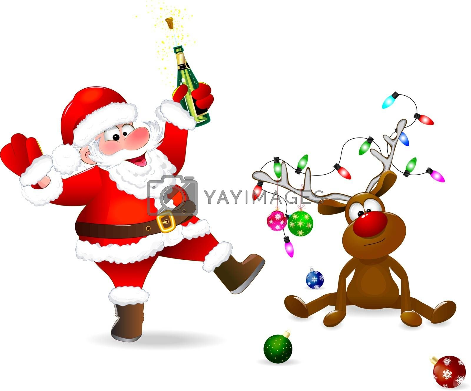 Santa Claus with a bottle in his hand. The deer is decorated with Christmas balls and a garland of lights. Santa and deer on a white background.
