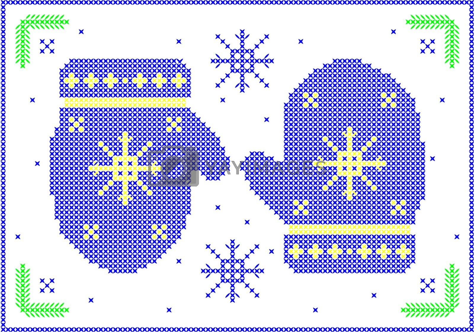 Cross-stitch winter mittens with snowflakes.