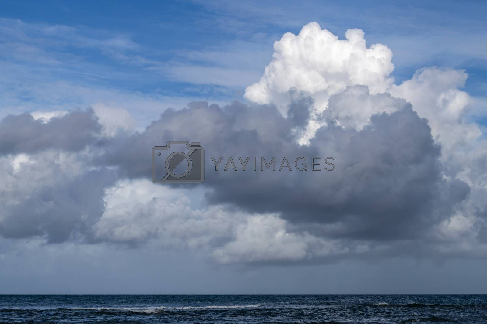 Impressive cloudy skies over the North Sea as seen from the island of Terschelling in the North of the Netherlands
