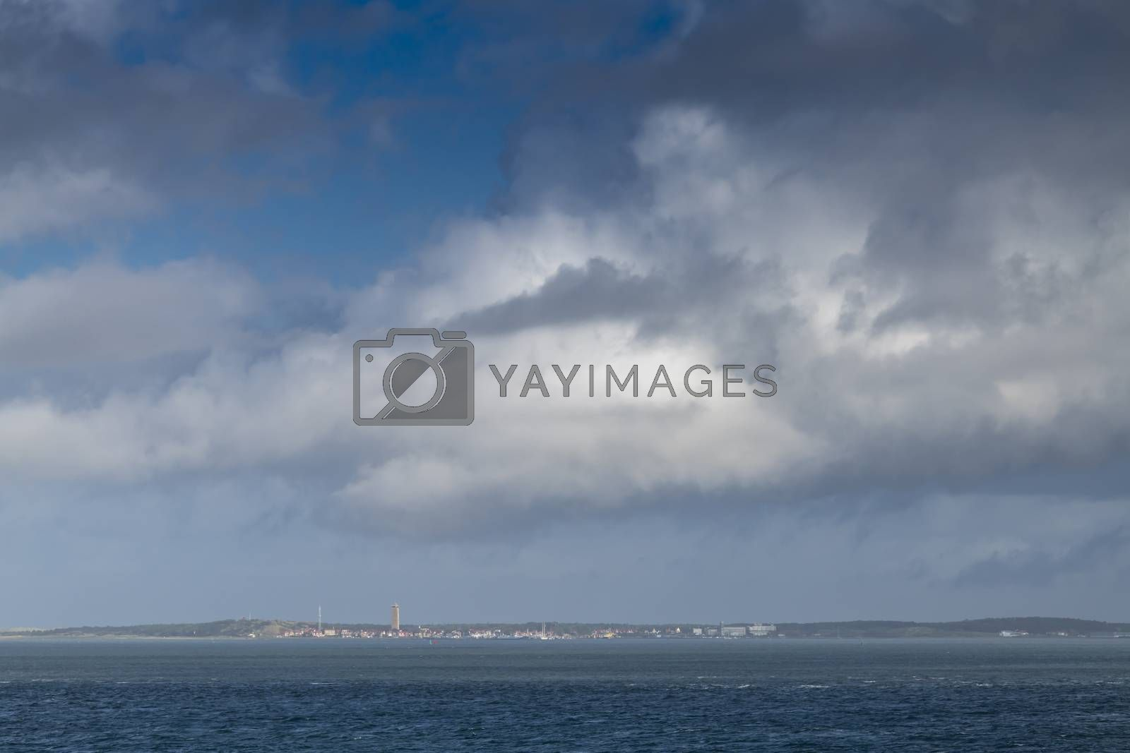 View of the village of West Terschelling on Terschelling from the UNESCO-listed Wadden Sea in the north of the Netherlands