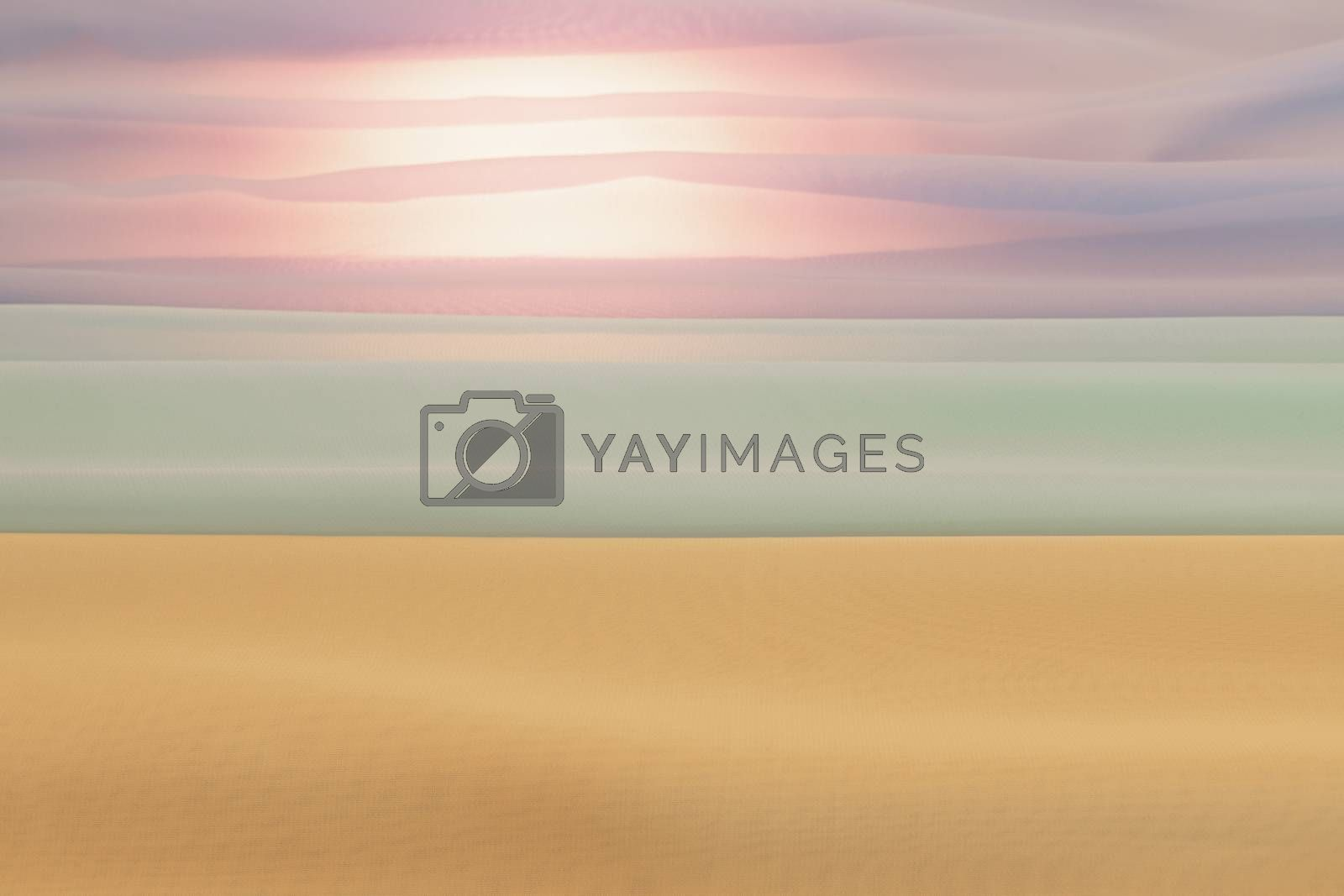 Abstract view of a beach landscape through towels