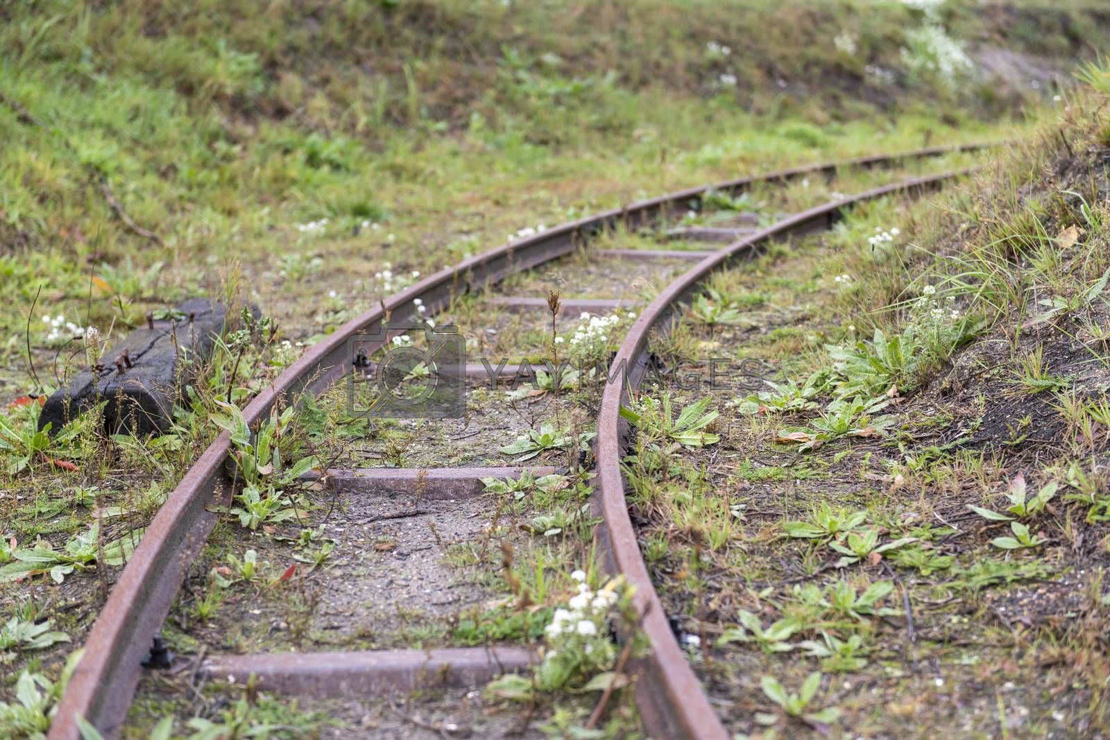 A disused historic narrow gauge railway with a right turn deflecting