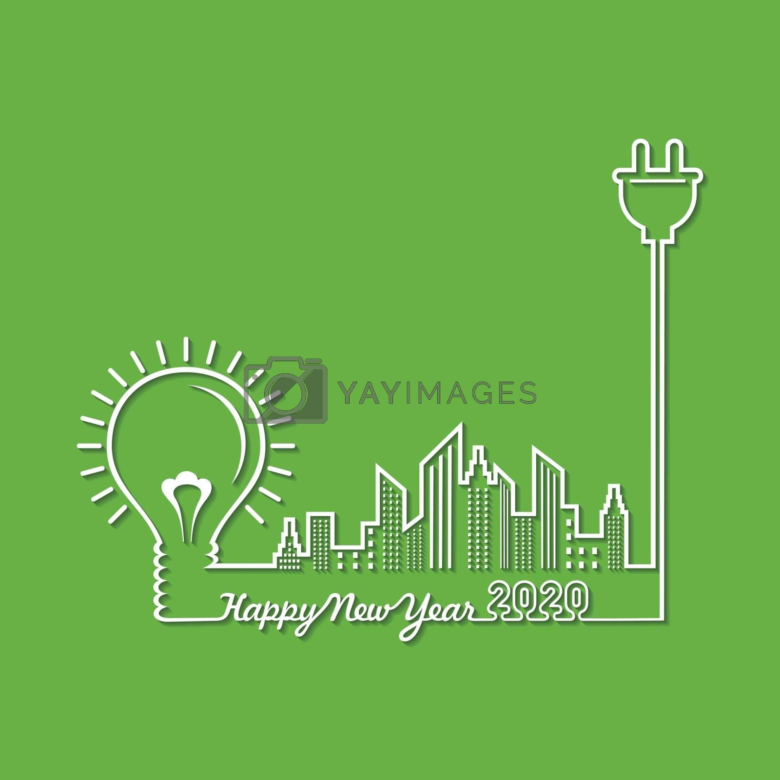 Illustration of greeting for new year 2020 stock vector