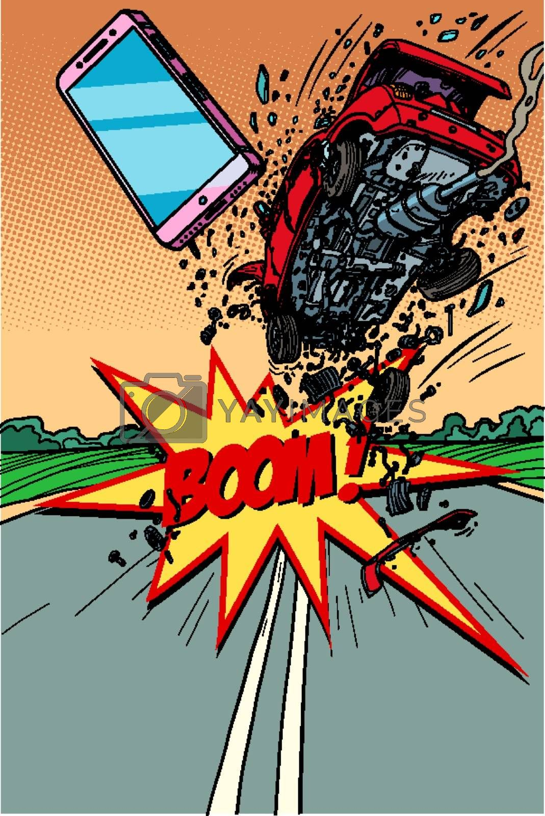 The driver was distracted by a smartphone and the car crashed. Comic cartoon pop art retro vector illustration drawing