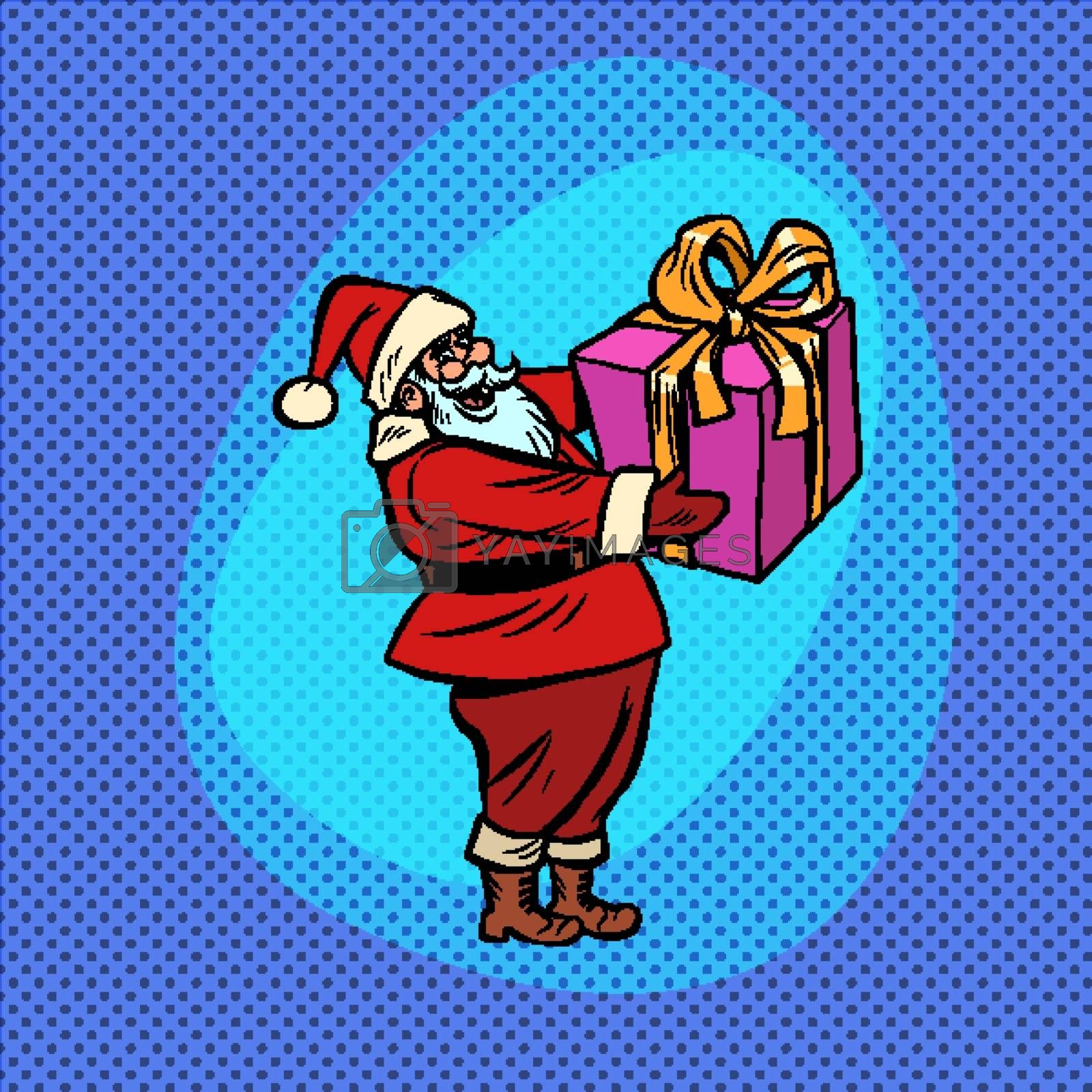 Santa Claus with gift box. Christmas and New year Comic cartoon pop art retro vector drawing illustration