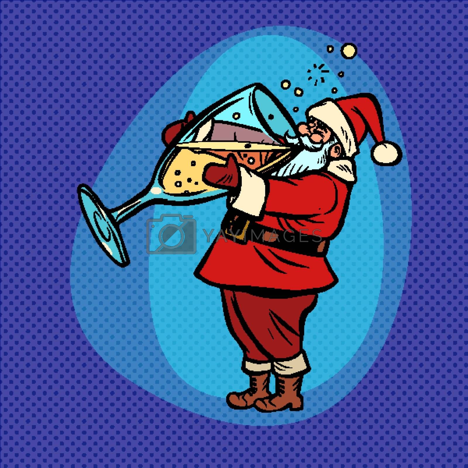Santa Claus drinks champagne. Christmas and New year. Comic cartoon pop art retro vector drawing illustration