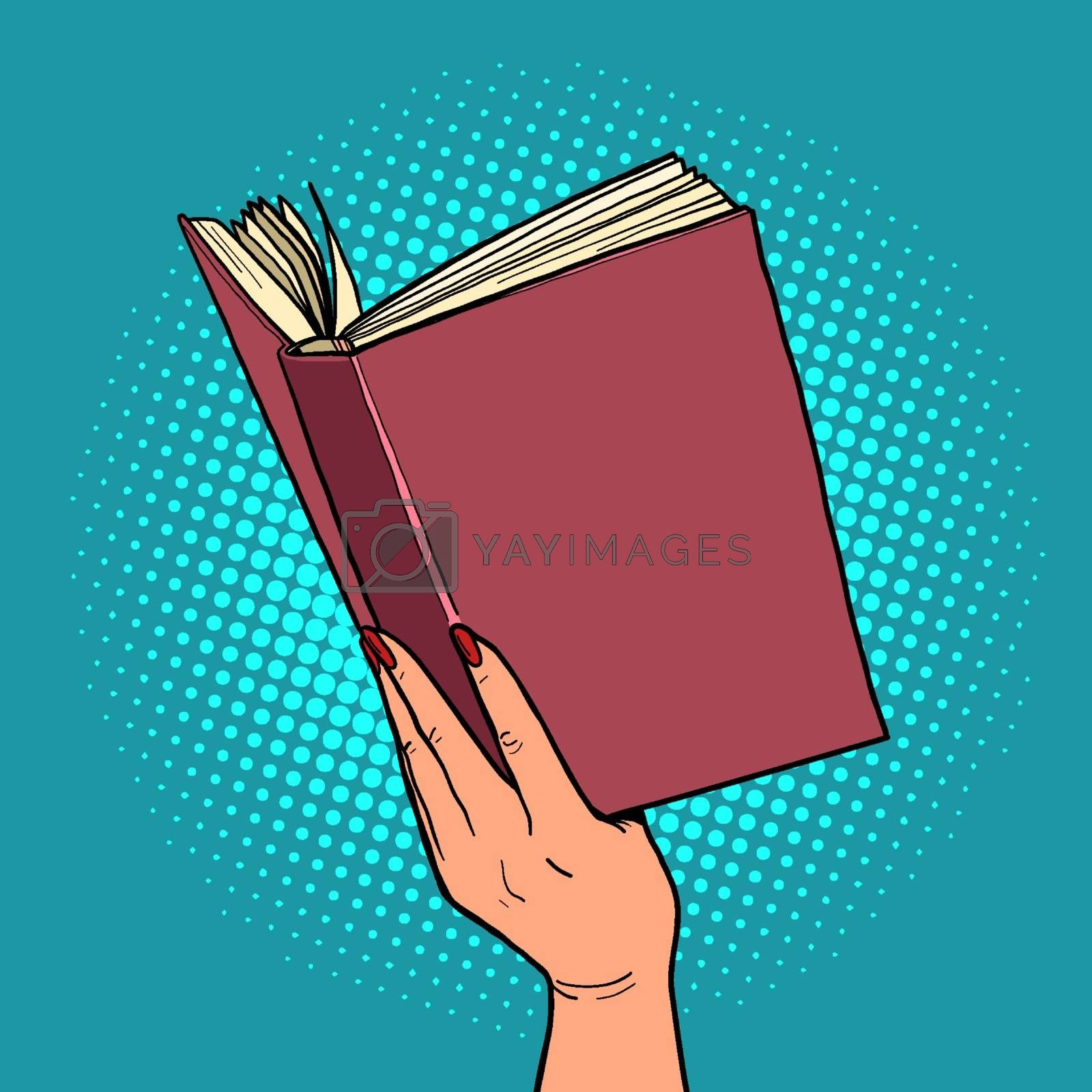 book in a female hand. reading and literature. Comic cartoon pop art retro vector illustration drawing