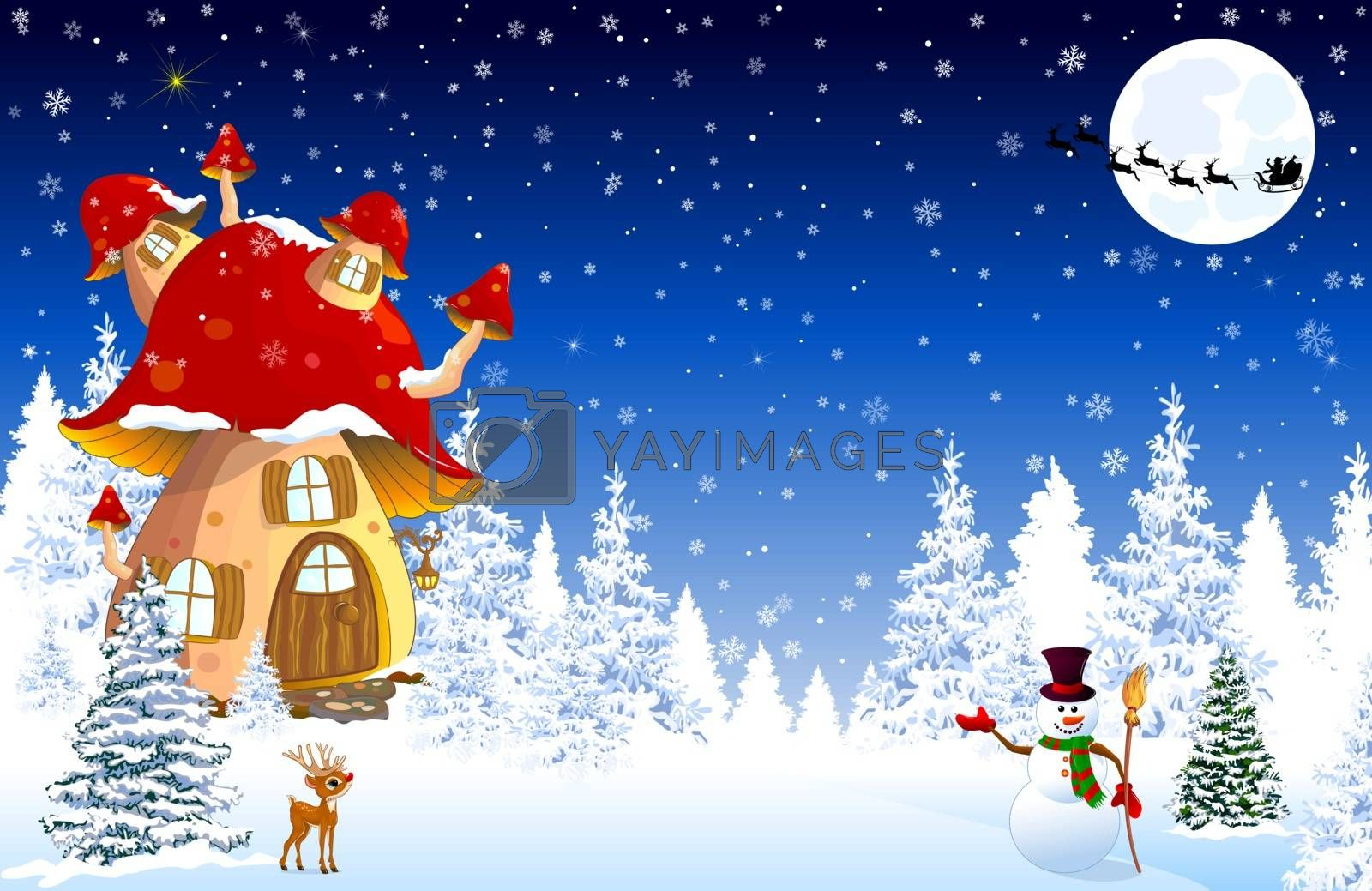 Cartoon mushroom house. Winter. Snow covered forest. Snowman welcomes. Little fawn. Winter night. Silhouette of Santa Slaus on a sleigh against the background of the night sky and the moon. Winter landscape with a mushroom house.