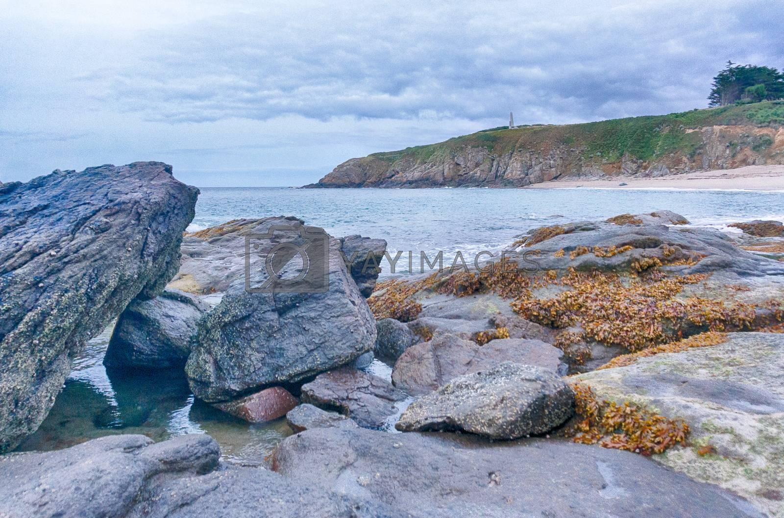 Romantic sea view on Britanny coast in summer vacation
