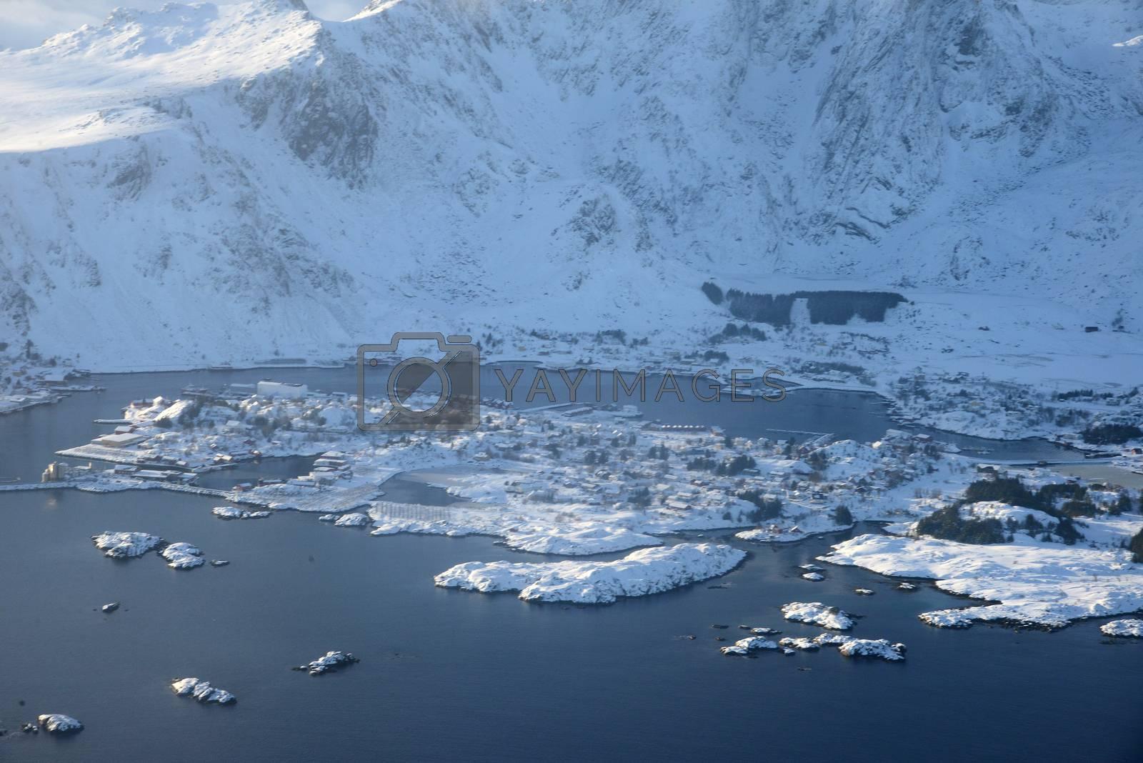 Royalty free image of Lofoten Island aerial view in Winter by porbital