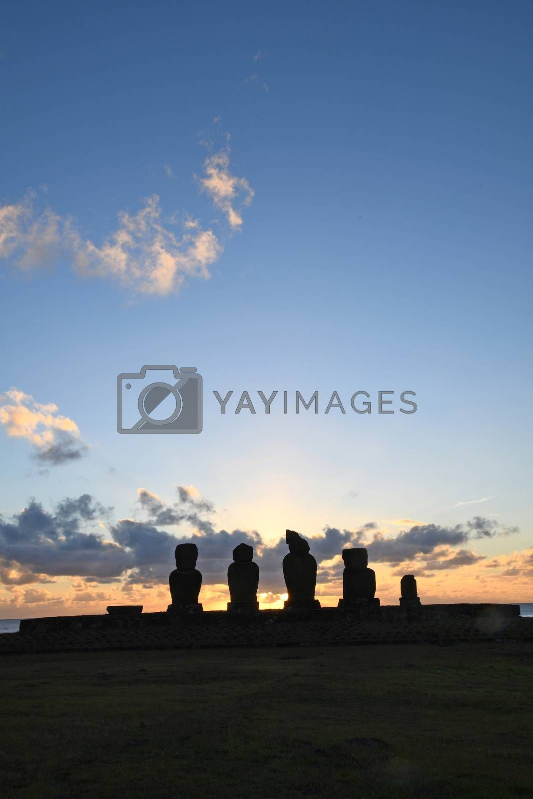 Royalty free image of Sunset at Ahu Tahai from Easter Island by porbital