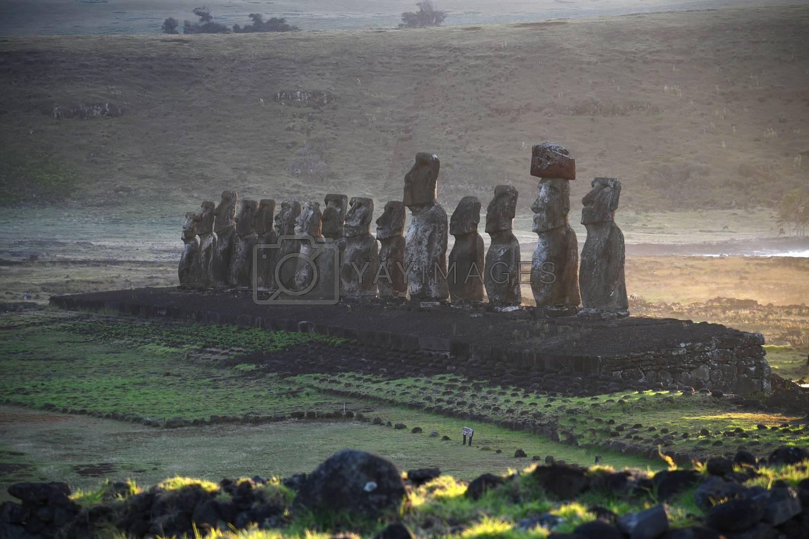 Royalty free image of Ahu Tongariki Moai at Easter Island by porbital