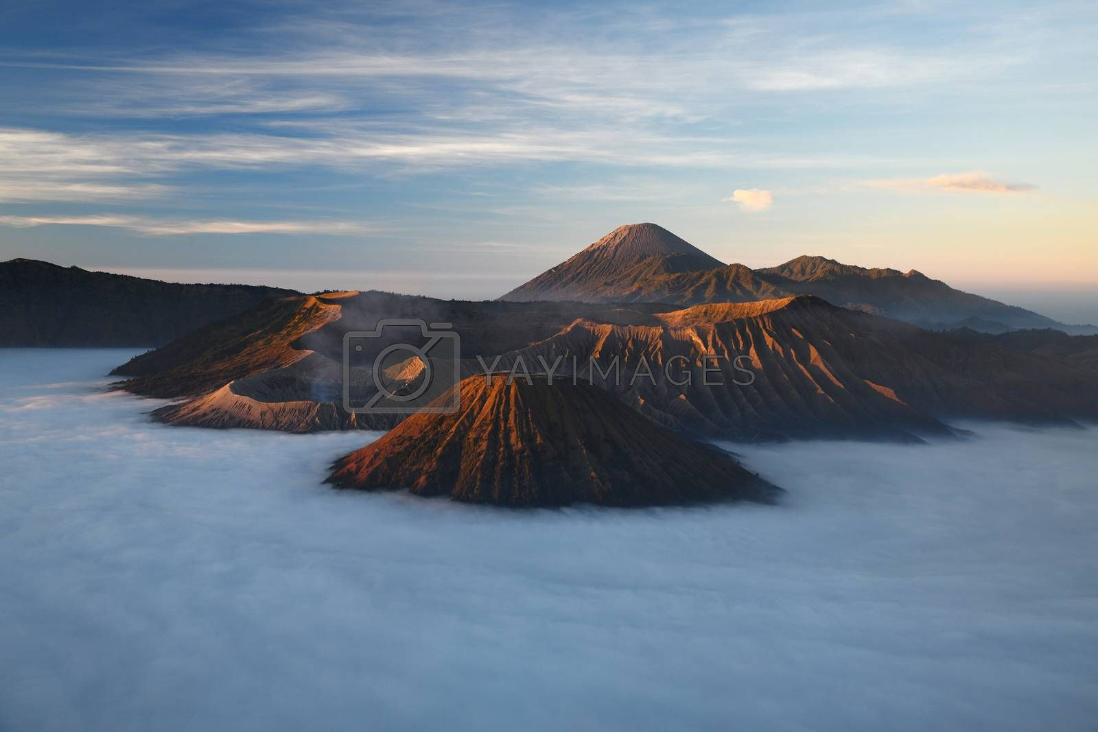 Royalty free image of Bromo mountain with fog layer at sunrise, East Java, Indonesia by porbital