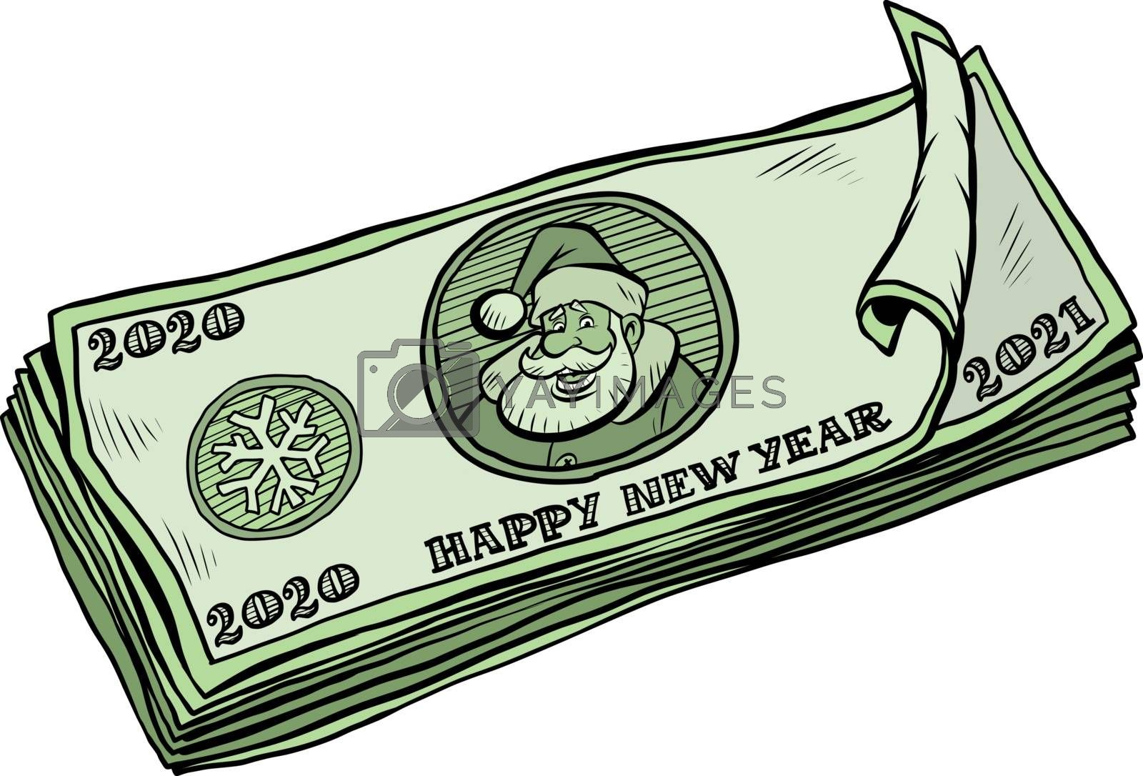 2020 2021 banknotes money cash. annual bonus. Santa Claus character Christmas new year. Comic cartoon pop art retro vector illustration drawing
