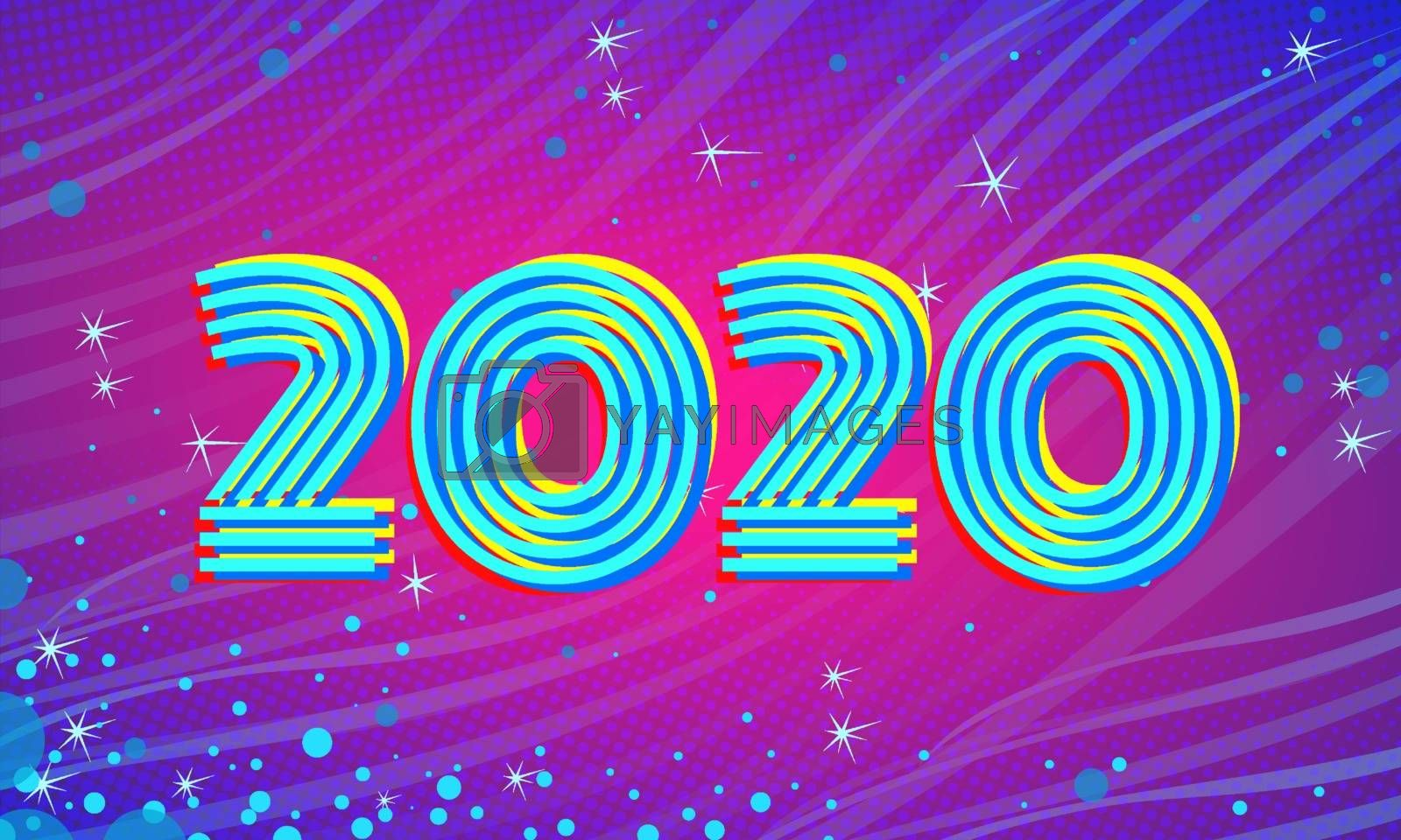 2020 Blue Magenta new year background. Comic cartoon pop art retro vector illustration drawing