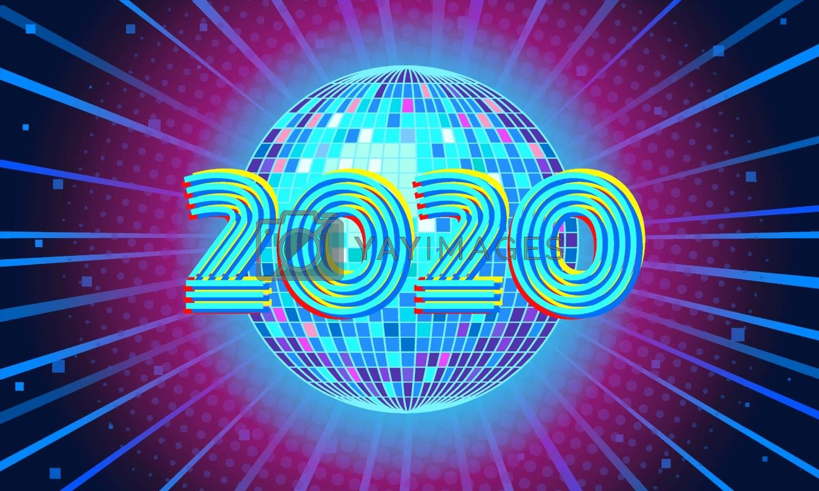 2020 New year Blue disco ball background. Comic cartoon pop art retro vector illustration drawing