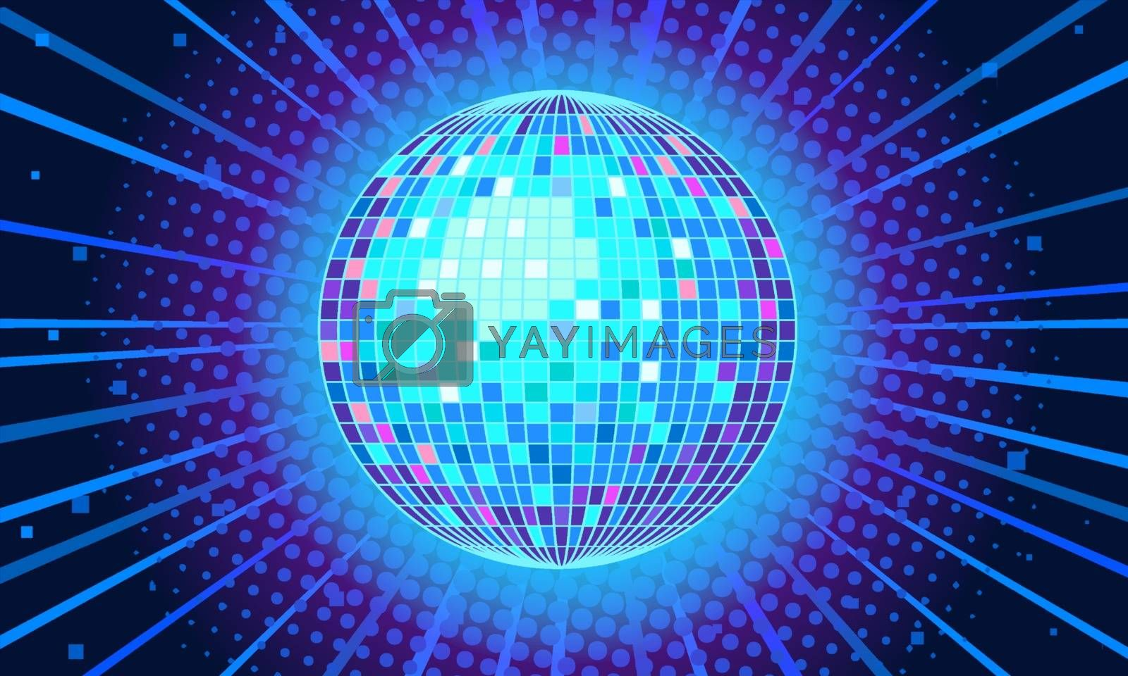 Blue disco ball background. Comic cartoon pop art retro vector illustration drawing