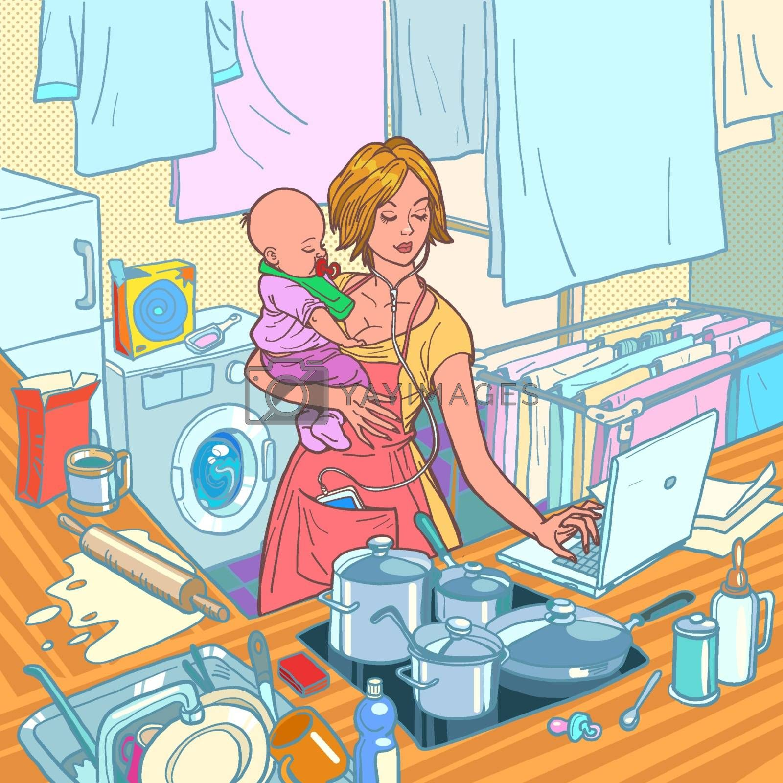 Modern mother with child. Remote work and household chores. Kitchen, cooking, washing, laptop computer, listening to music. Caring for infants. Comic cartoon pop art retro vector illustration drawing