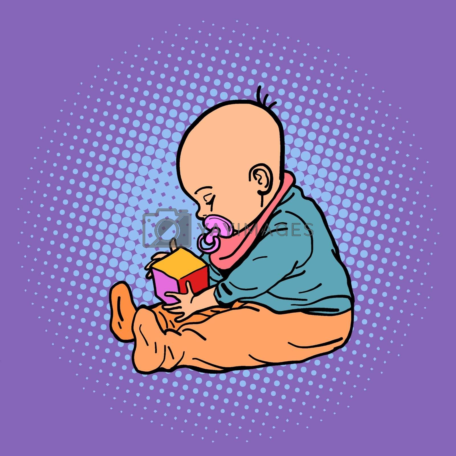 small child playing with a cube. Comic cartoon pop art retro vector illustration drawing